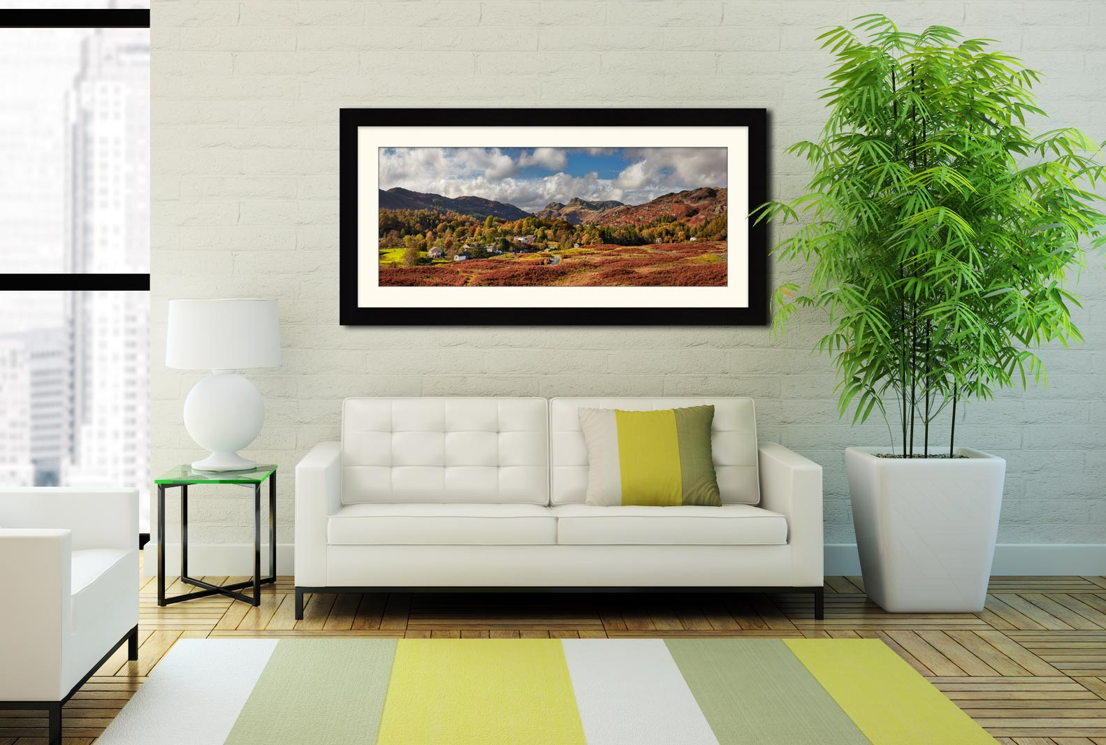 Elterwater Village - Framed Print with Mount on Wall