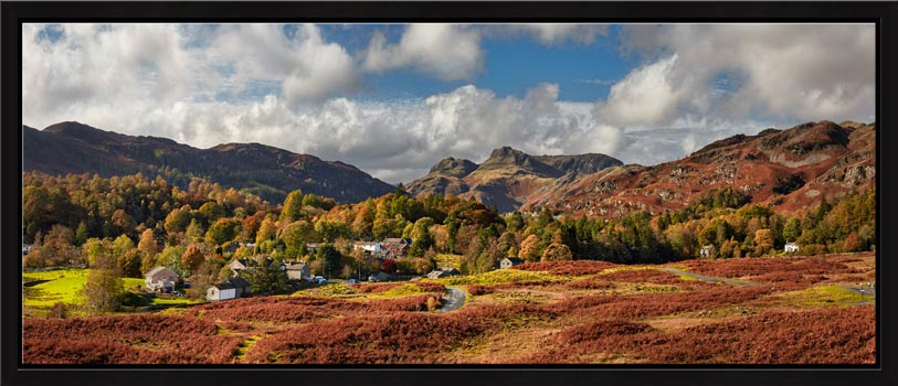 View over the Village of Elterwater down the Langdale Valley