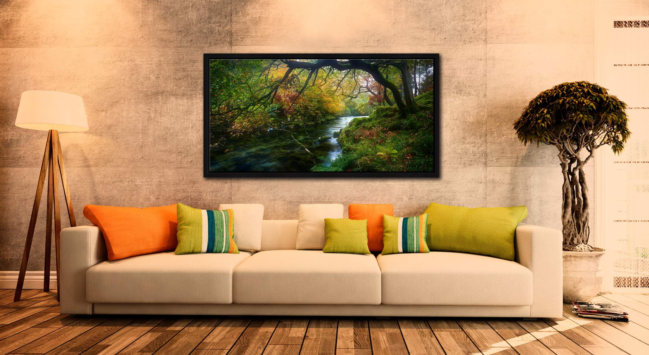 Autumn colours around the River Derwent in the Borrowdale Valley in the Lake District - Black oak floater frame with acrylic glazing on Wall