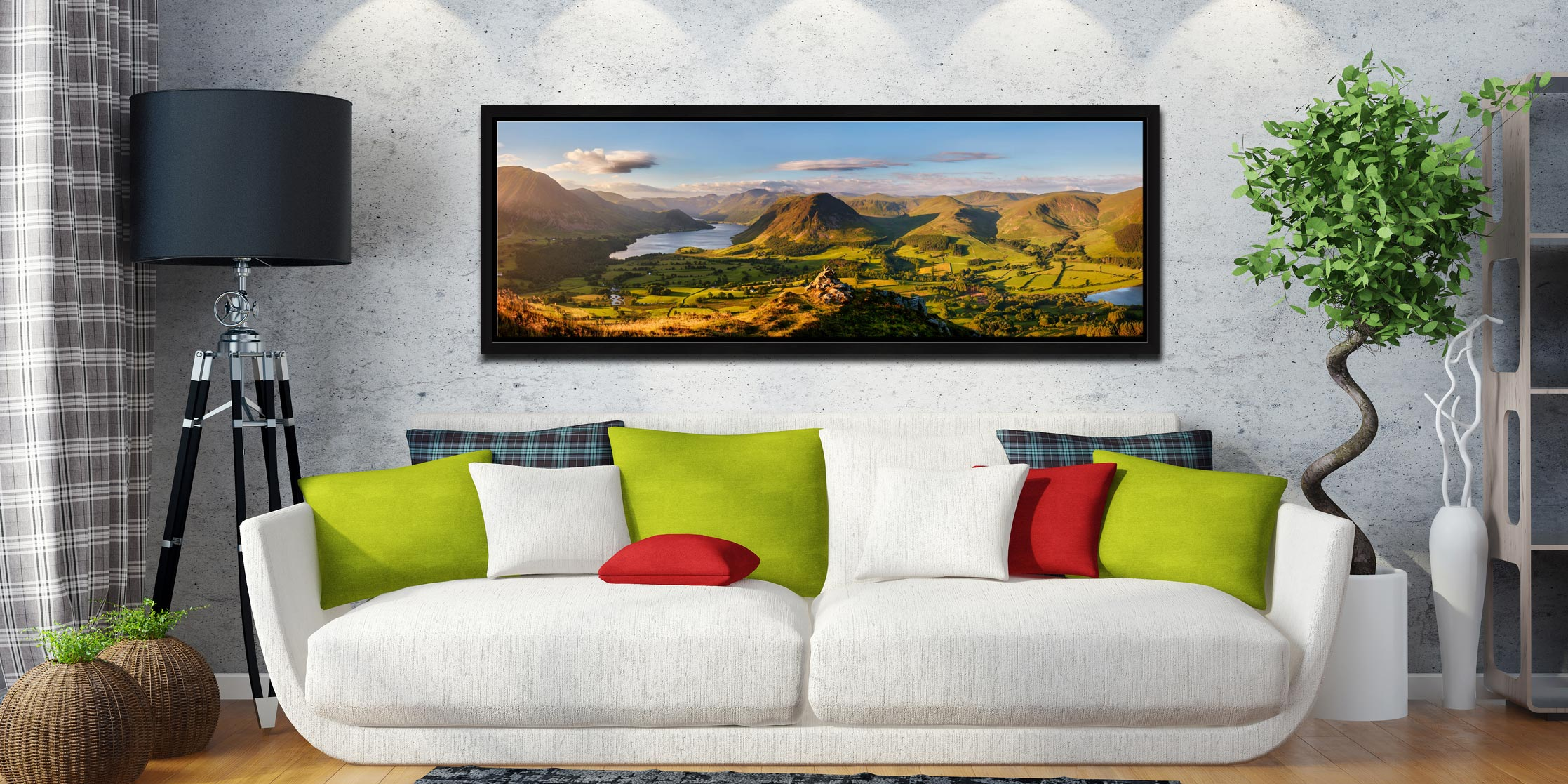 View from the summit of Loweswater Fell down the Buttermere valley - Black oak floater frame with acrylic glazing on Wall