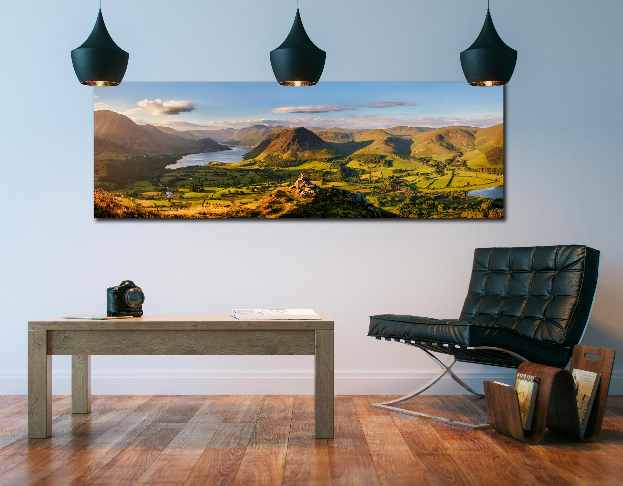 View from the summit of Loweswater Fell down the Buttermere valley - Print Aluminium Backing With Acrylic Glazing on Wall