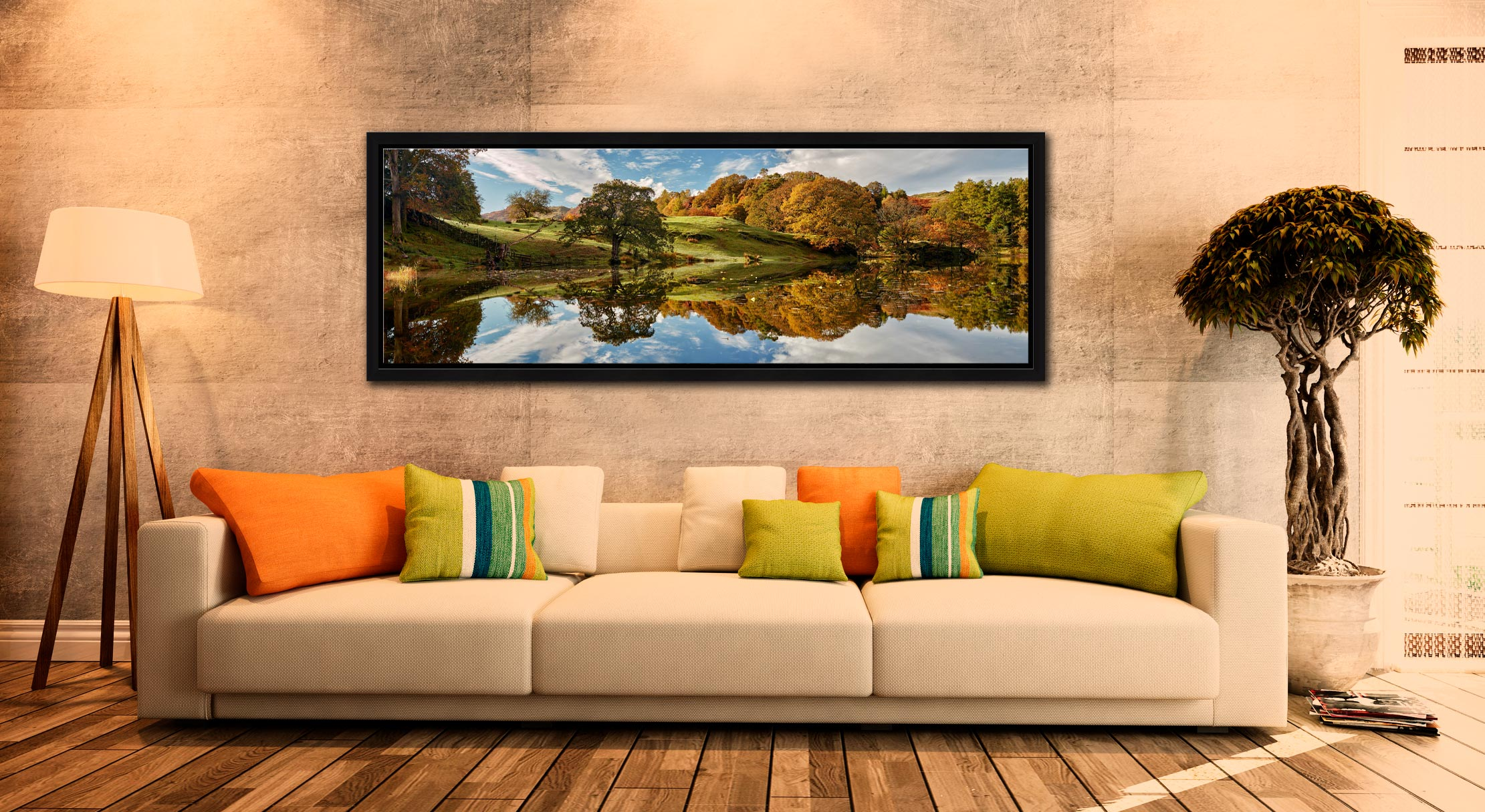 A beautiful sunny autumn morning at Loughrigg Tarn in Langdale - Black oak floater frame with acrylic glazing on Wall