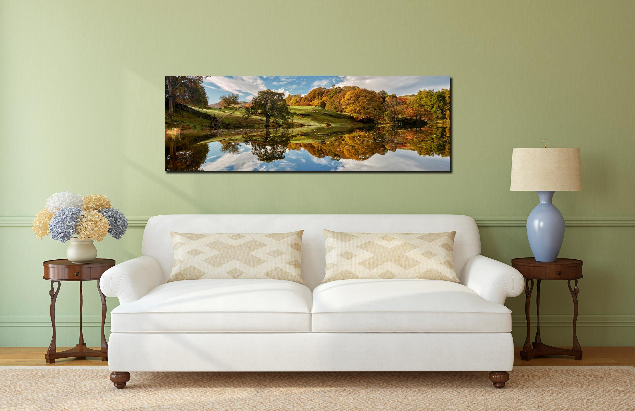 A beautiful sunny autumn morning at Loughrigg Tarn in Langdale - Print Aluminium Backing With Acrylic Glazing on Wall