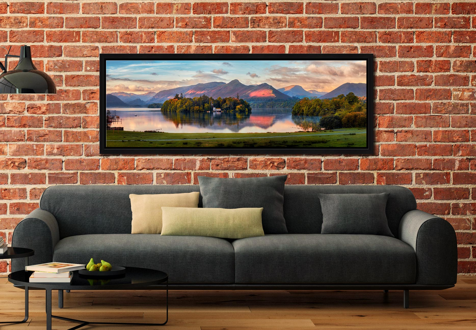 The first rays of sunlight reach the mountains and trees around Derwent Water - Black oak floater frame with acrylic glazing on Wall