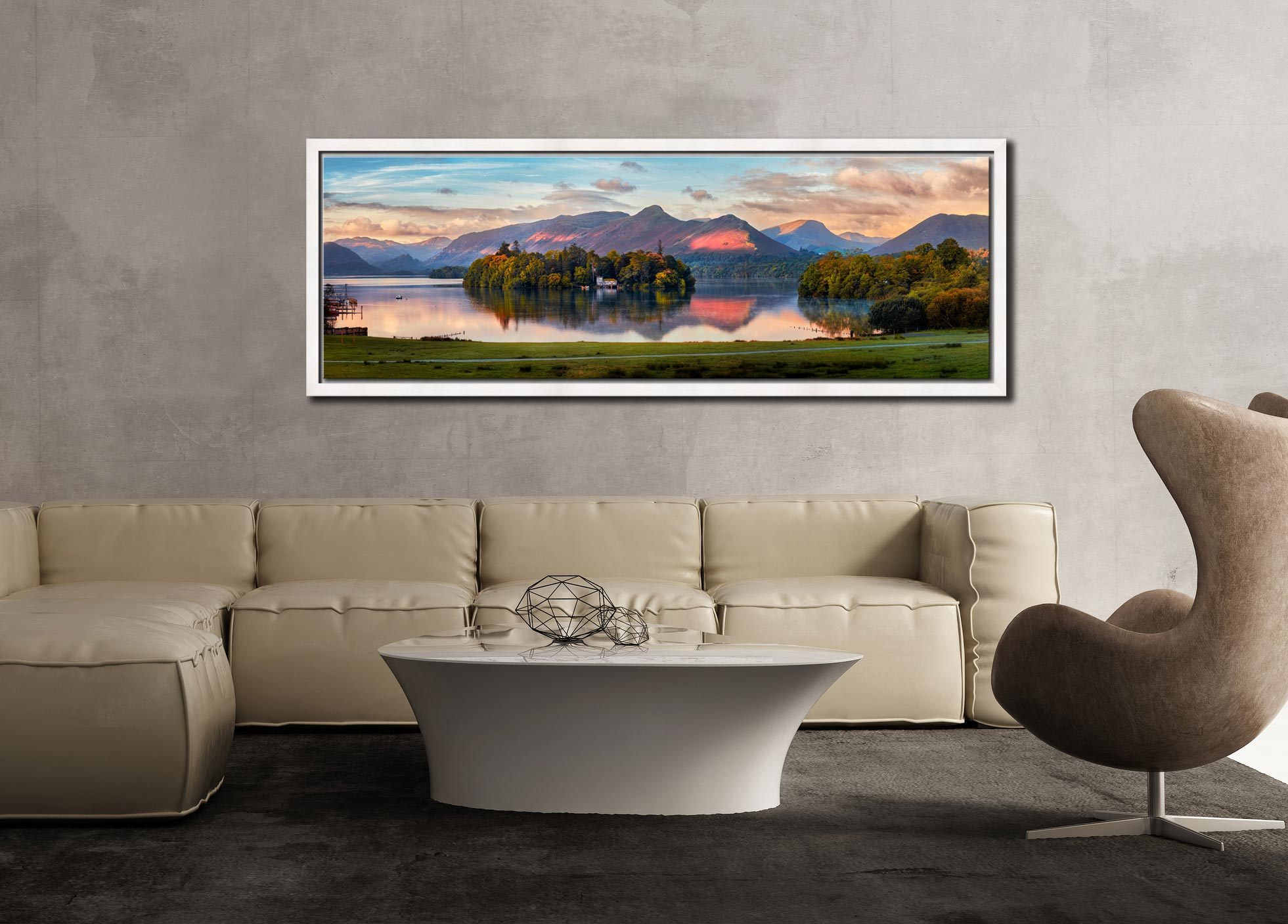 The first rays of sunlight reach the mountains and trees around Derwent Water - White Maple floater frame with acrylic glazing on Wall