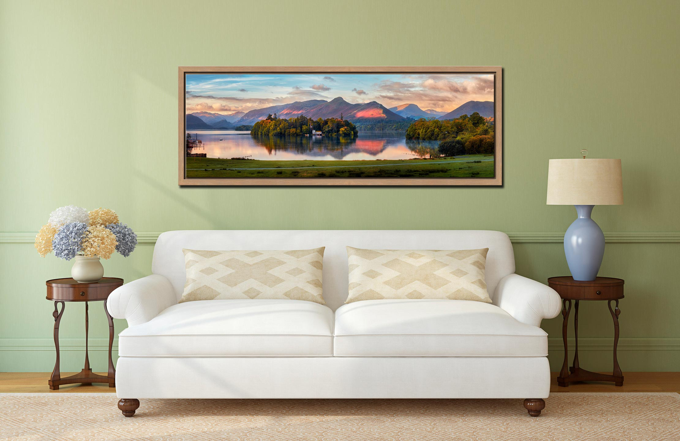 The first rays of sunlight reach the mountains and trees around Derwent Water - Oak floater frame with acrylic glazing on Wall