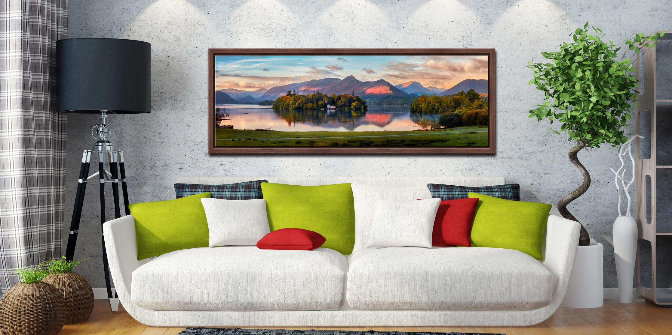 The first rays of sunlight reach the mountains and trees around Derwent Water - Walnut floater frame with acrylic glazing on Wall