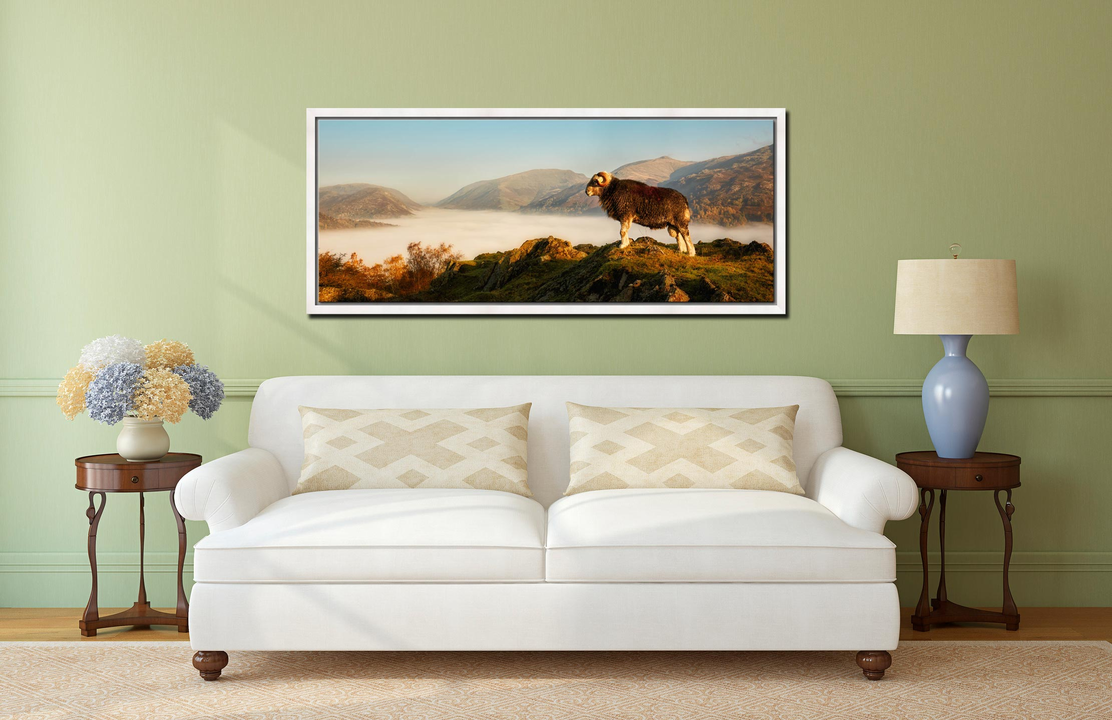 View from Dow Bank above Grasmere on a very misty autumn morning - White Maple floater frame with acrylic glazing on Wall