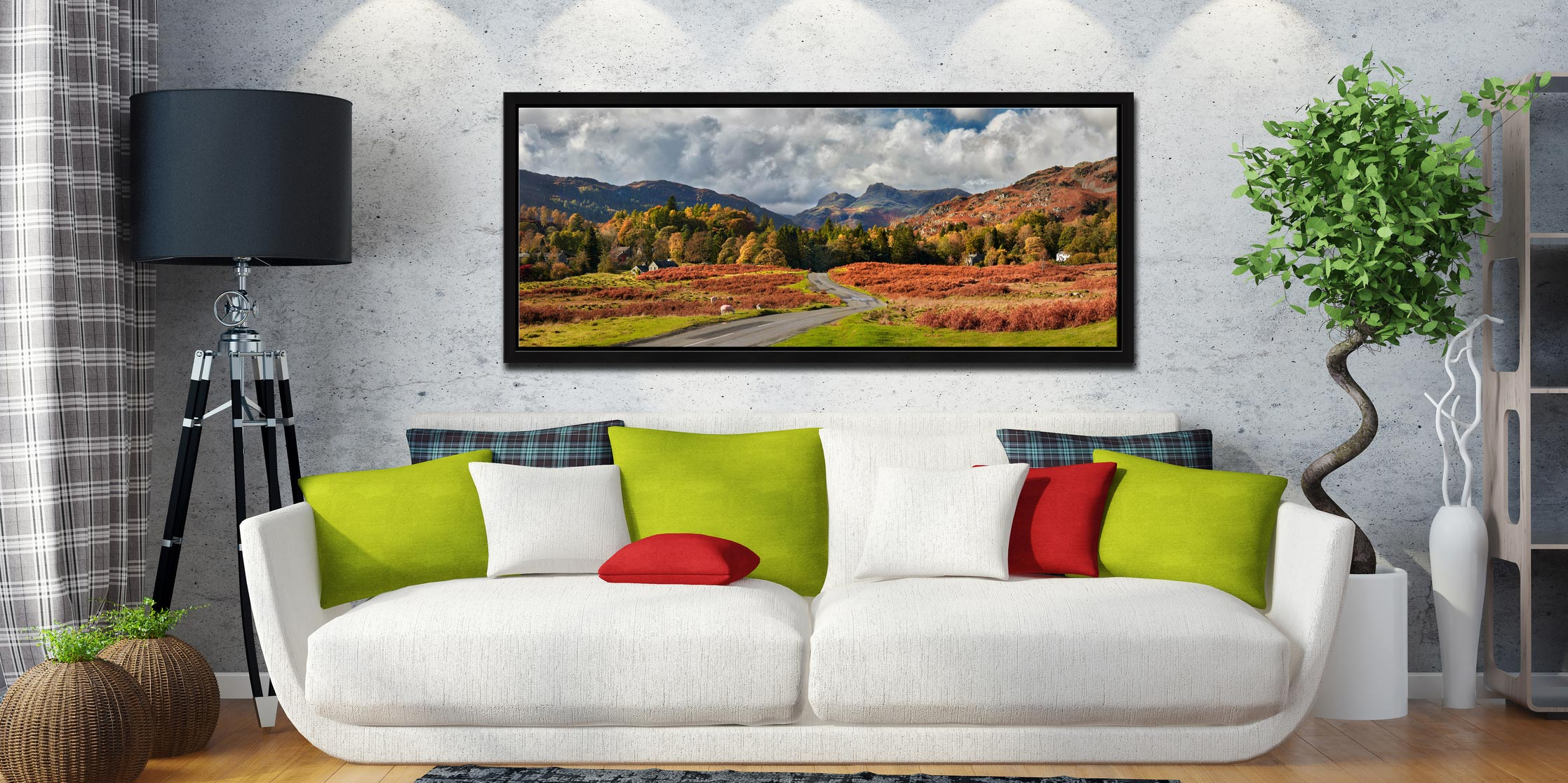 Elterwater common in autumn with the Langdale Pikes in the distance - Black oak floater frame with acrylic glazing on Wall