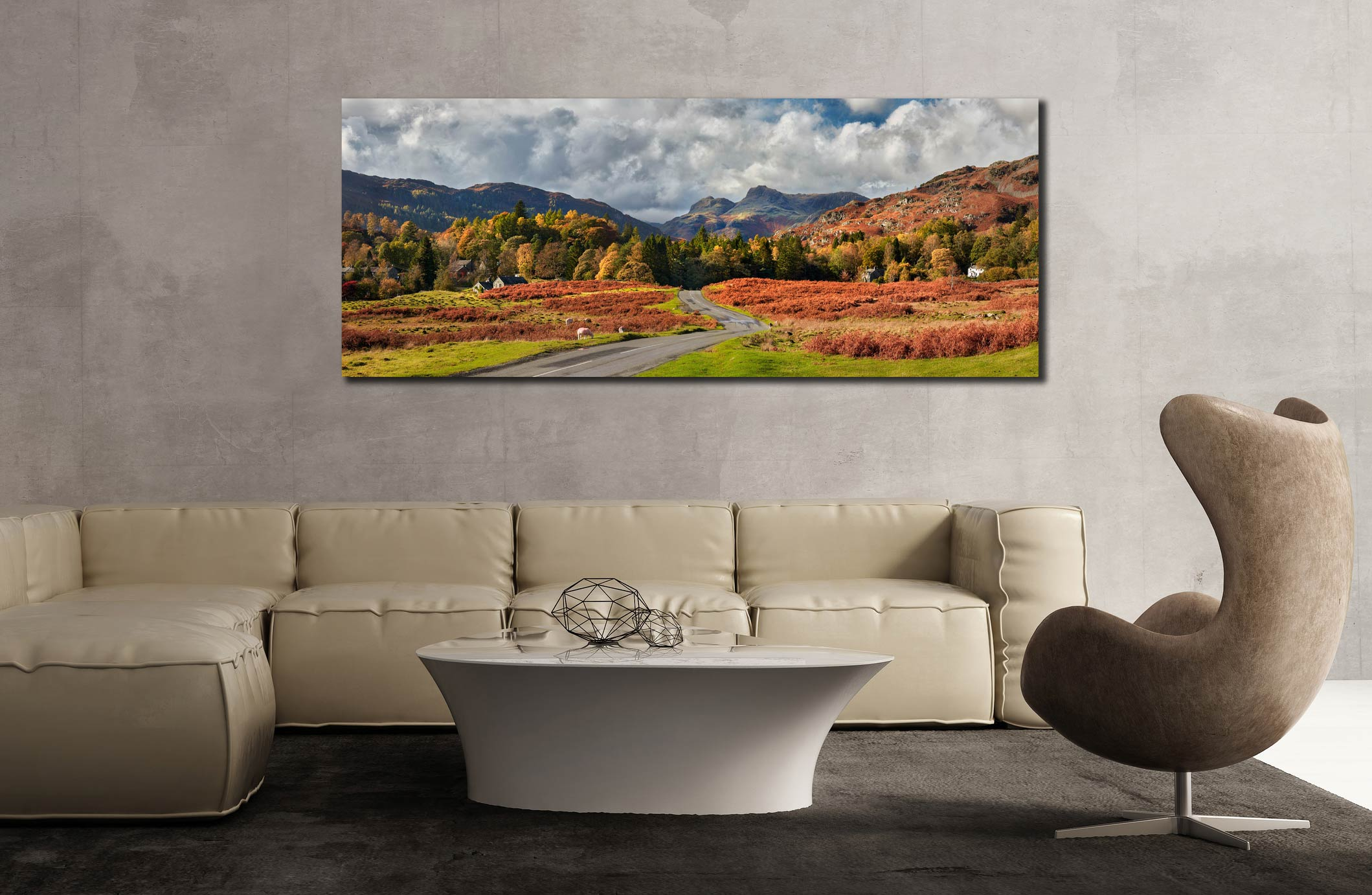 Elterwater common in autumn with the Langdale Pikes in the distance - Print Aluminium Backing With Acrylic Glazing on Wall