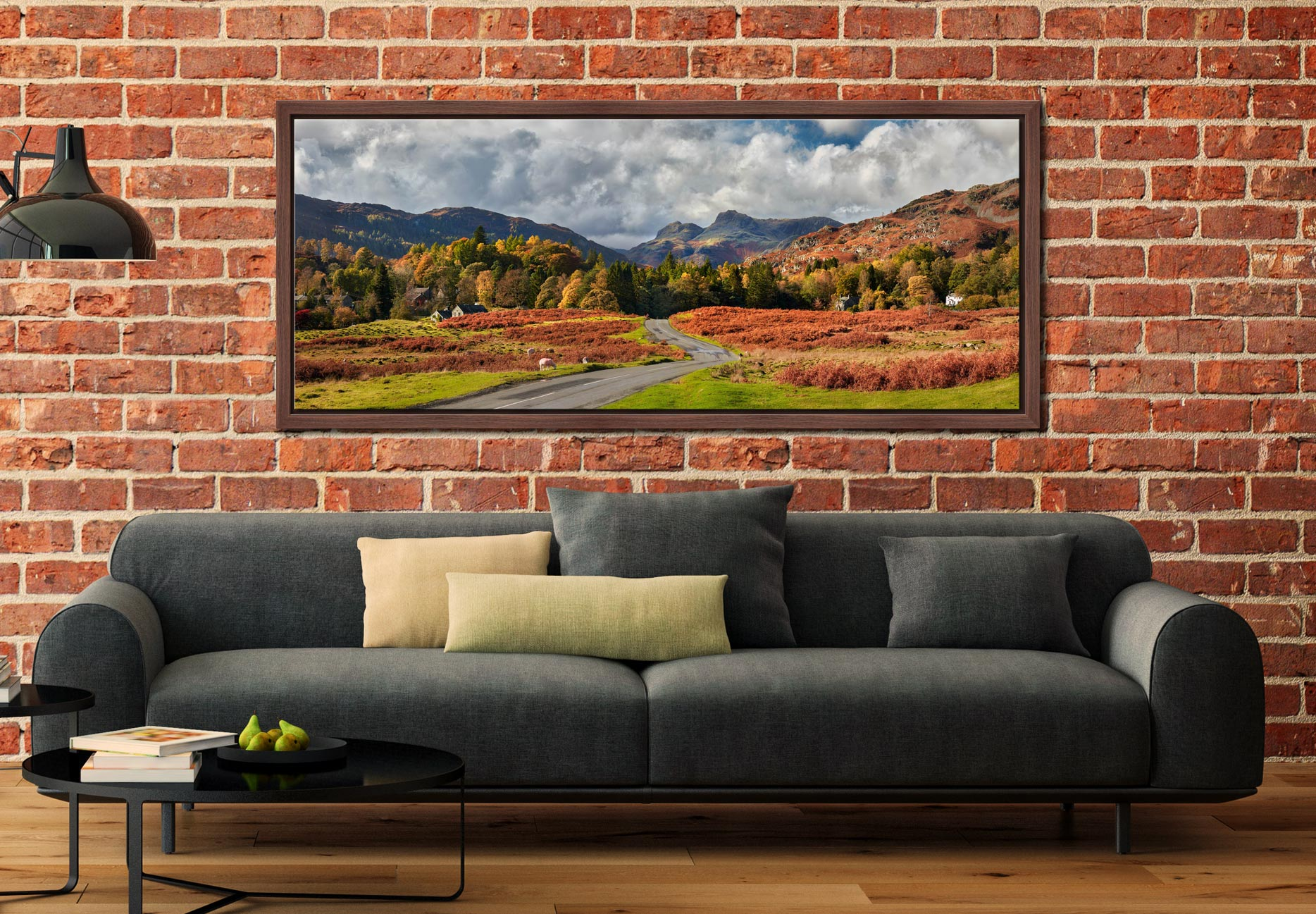 Elterwater common in autumn with the Langdale Pikes in the distance - Walnut floater frame with acrylic glazing on Wall