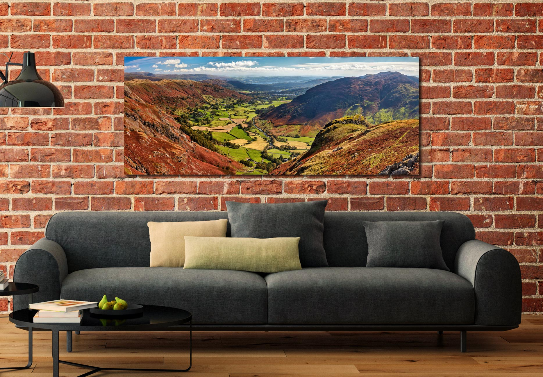 View down the Great Langdale Valley from above Pike Howe - Print Aluminium Backing With Acrylic Glazing on Wall