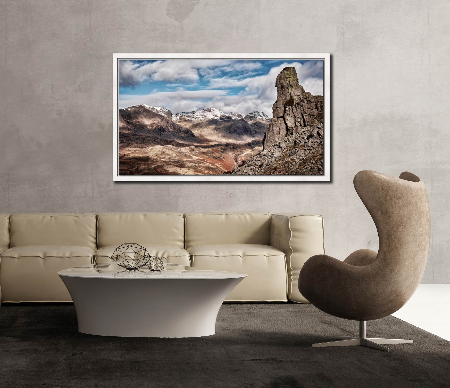 Eskdale Needle in Winter - White Maple floater frame with acrylic glazing on Wall