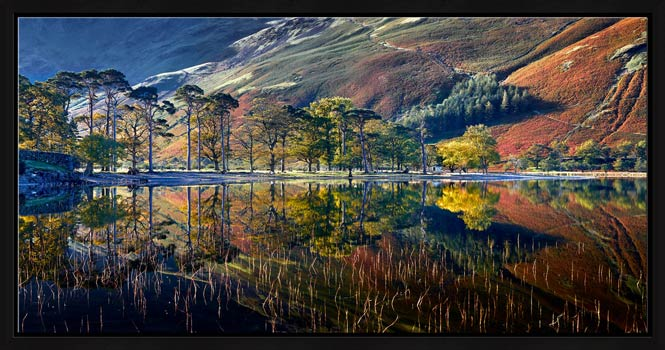 Buttermere Autumn Reflections - Black oak floater