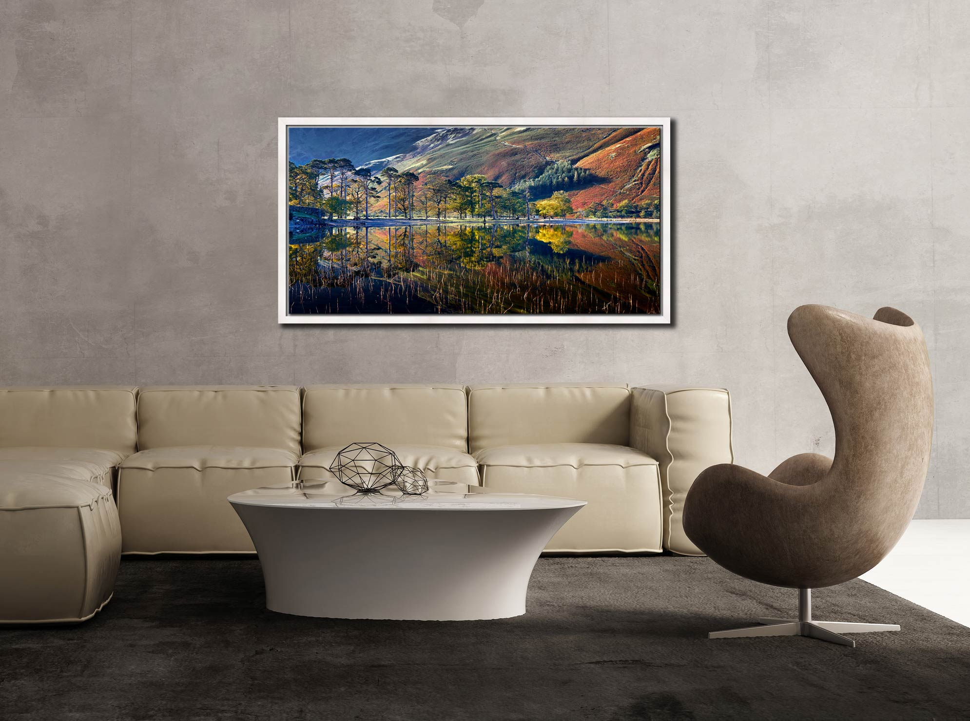 Buttermere Autumn Reflections - White Maple floater frame with acrylic glazing on Wall