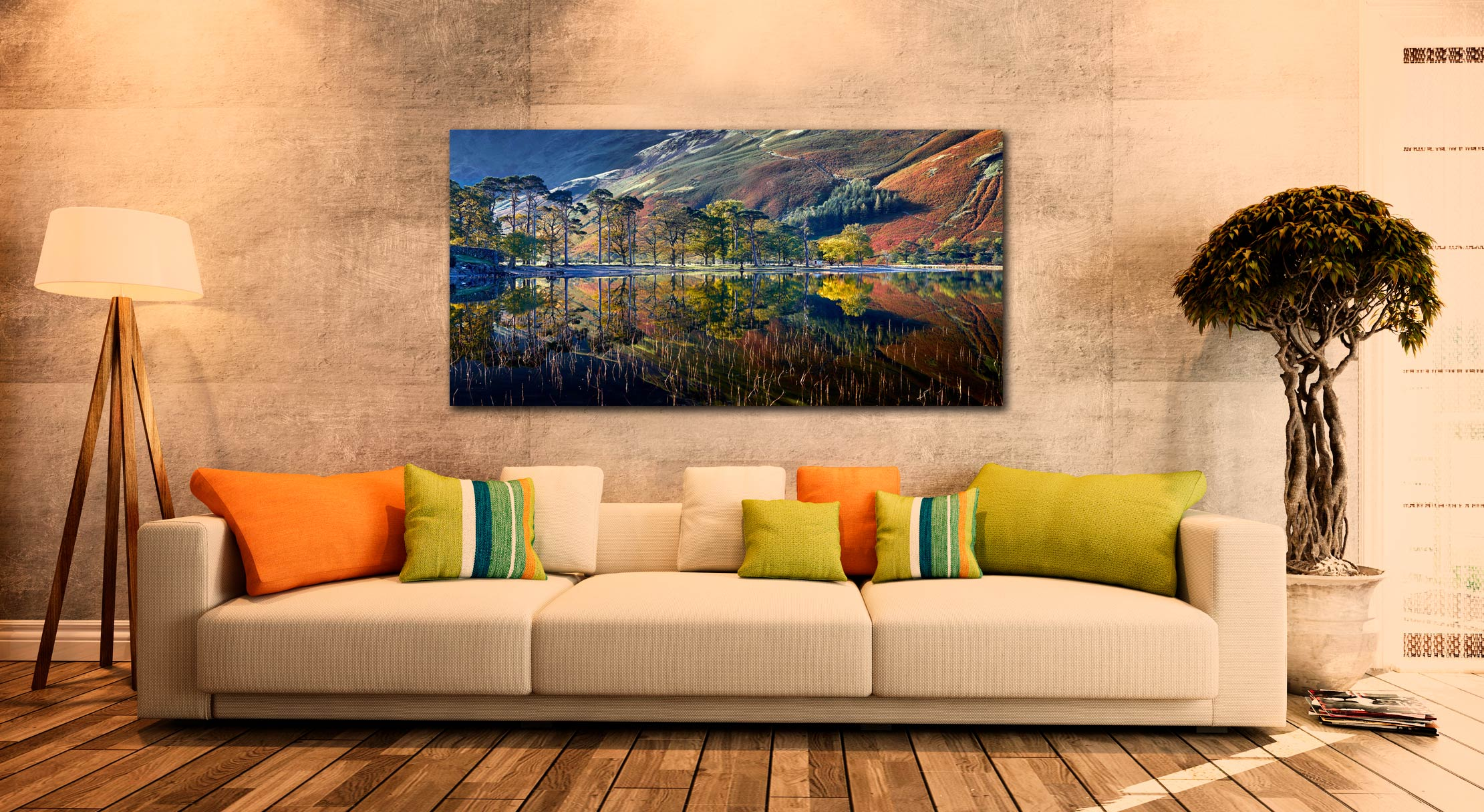 Buttermere Autumn Reflections - Print Aluminium Backing With Acrylic Glazing on Wall