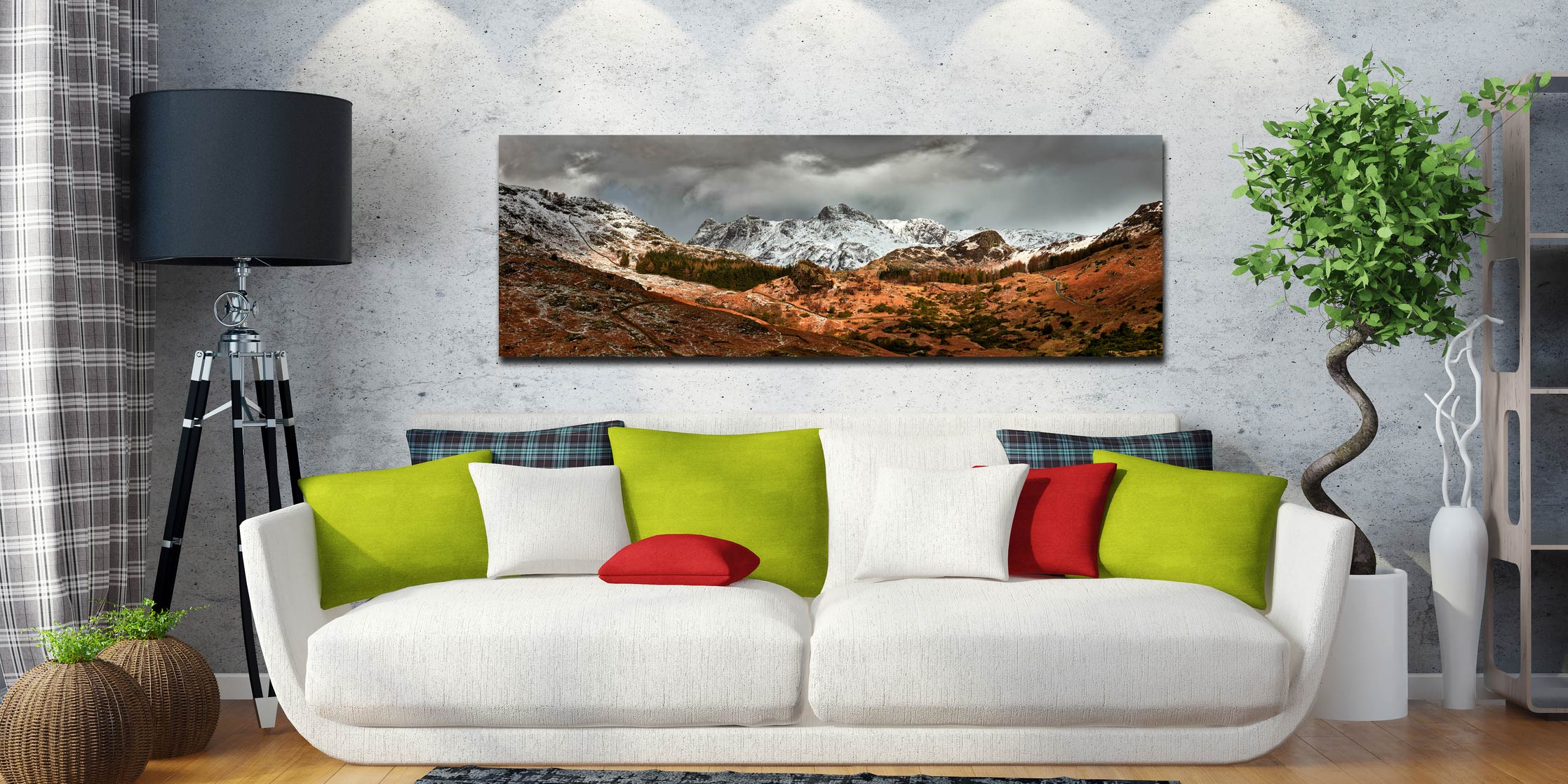Snow covered Langdale Pikes viewed up the Side Gates valley from Castle Howe in Little Langdale - Print Aluminium Backing With Acrylic Glazing on Wall