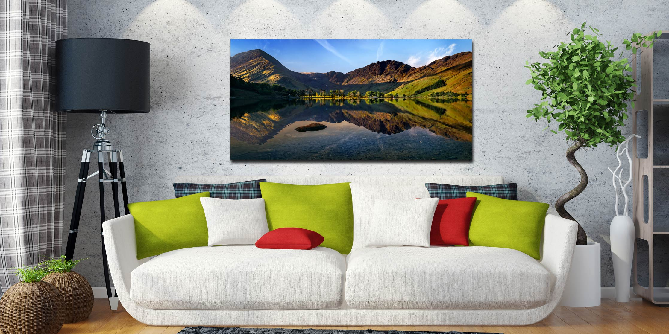 Stillness at Buttermere - Print Aluminium Backing With Acrylic Glazing on Wall
