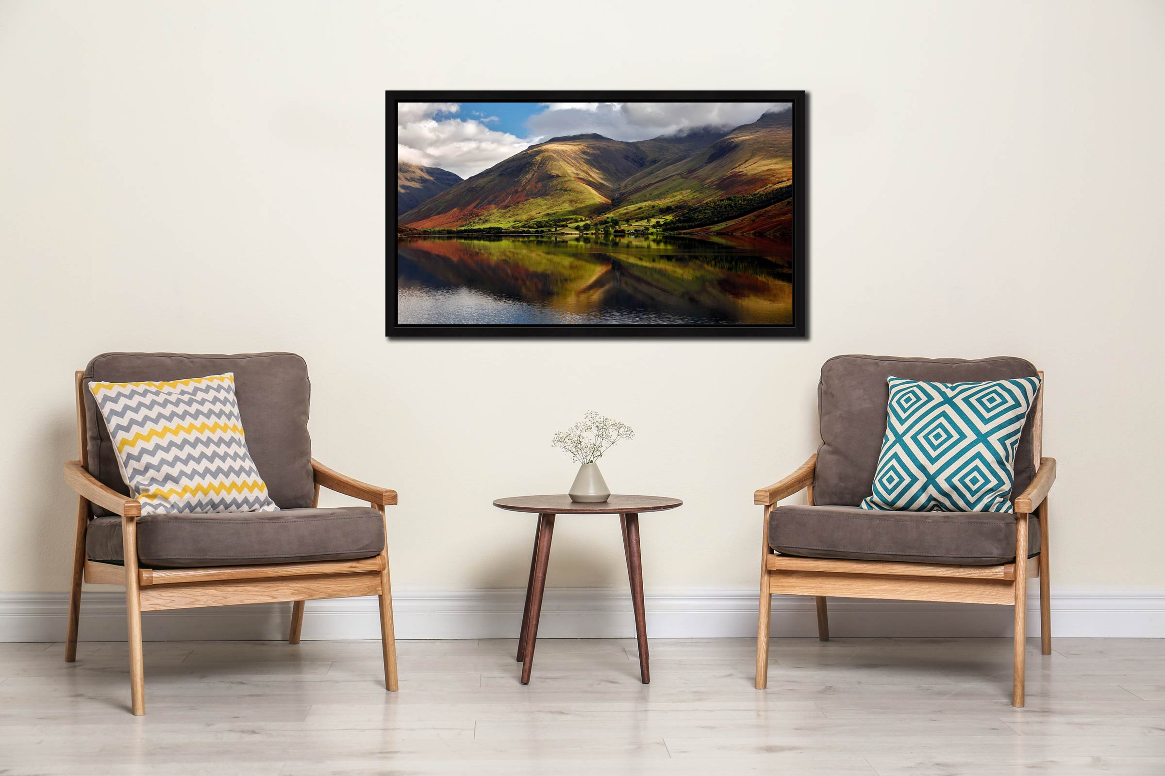 Green Fells of Wasdale - Black oak floater frame with acrylic glazing on Wall