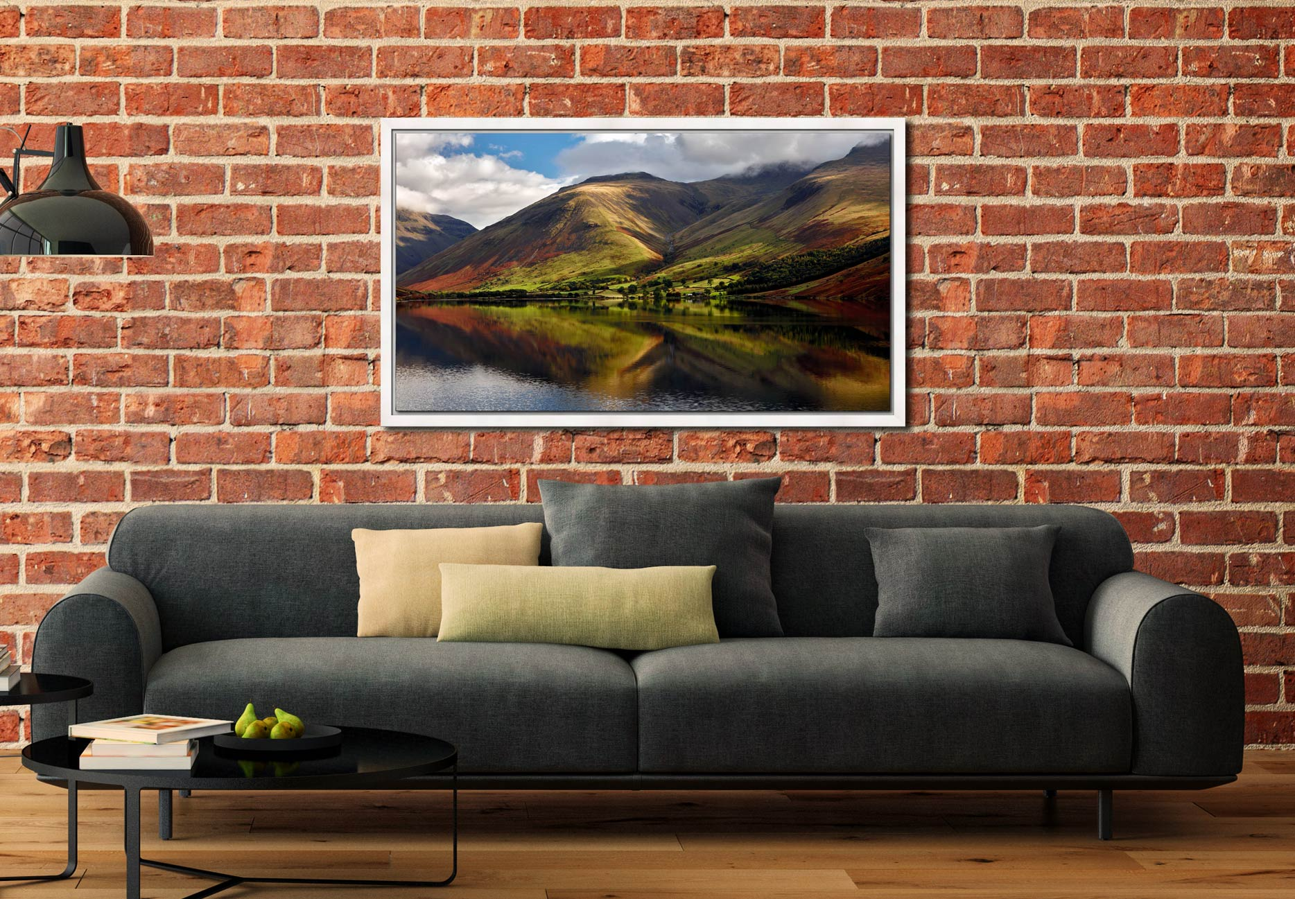 Green Fells of Wasdale - White Maple floater frame with acrylic glazing on Wall