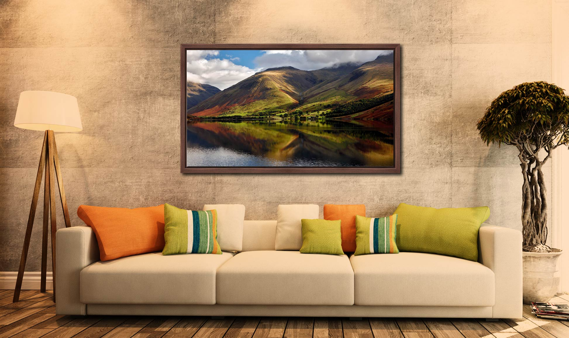 Green Fells of Wasdale - Walnut floater frame with acrylic glazing on Wall