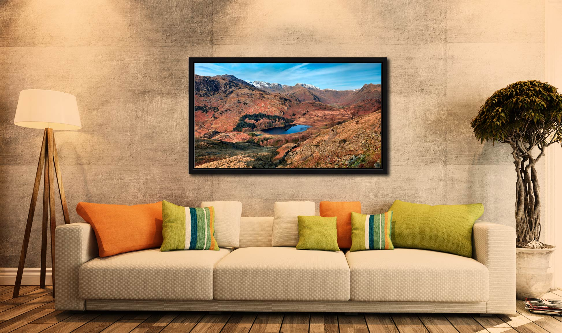 Winter Sun Over Blea Tarn - Black oak floater frame with acrylic glazing on Wall