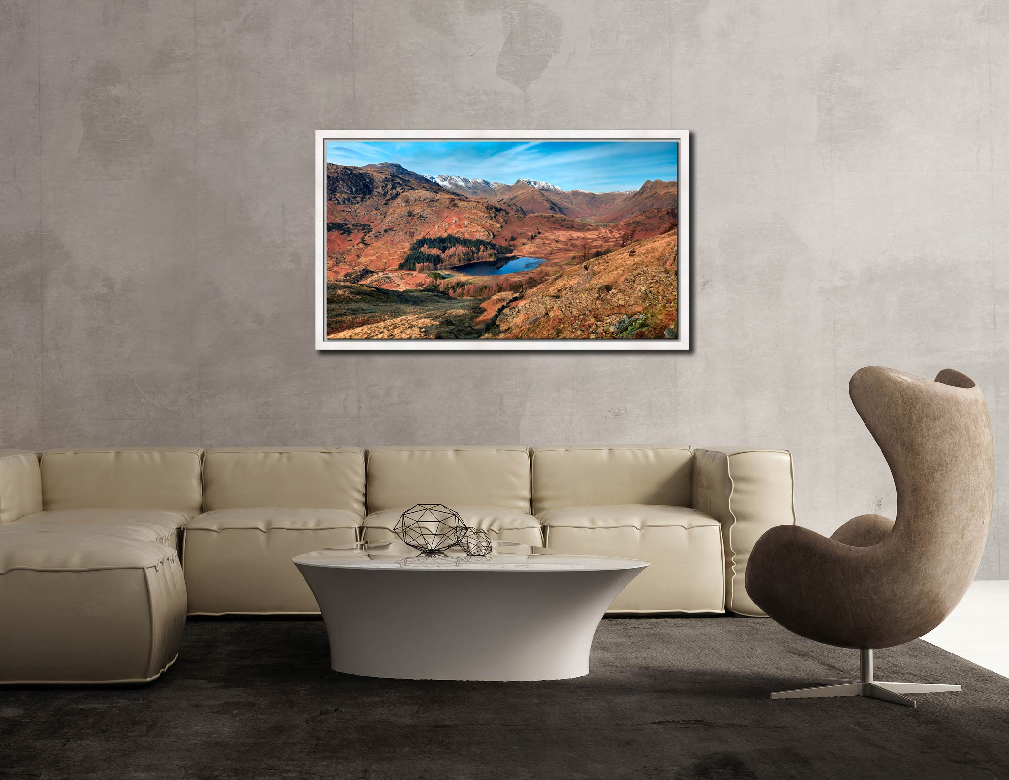 Winter Sun Over Blea Tarn - White Maple floater frame with acrylic glazing on Wall