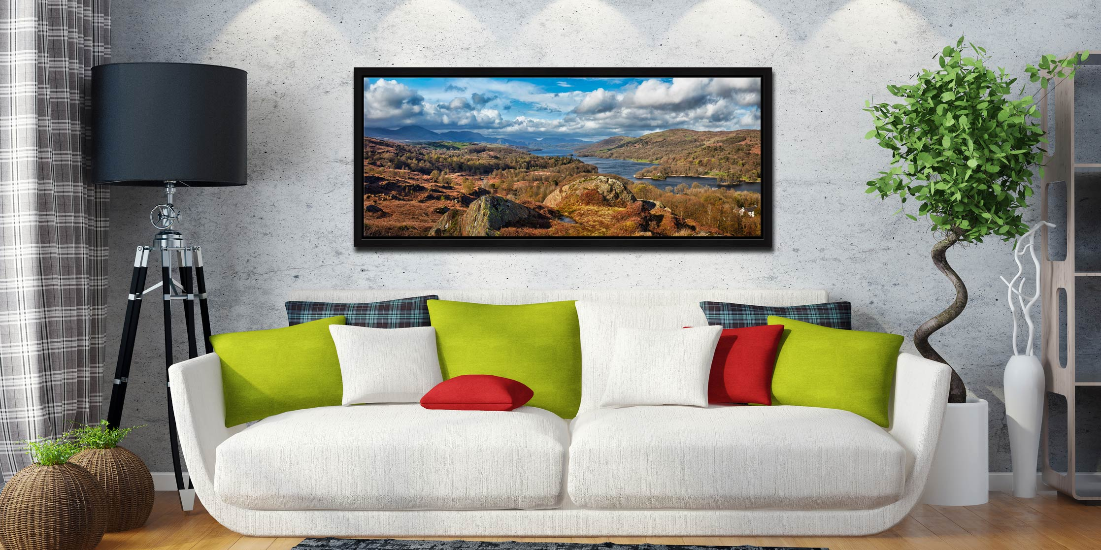 View looking north down Coniston Water towards Langdale - Black oak floater frame with acrylic glazing on Wall