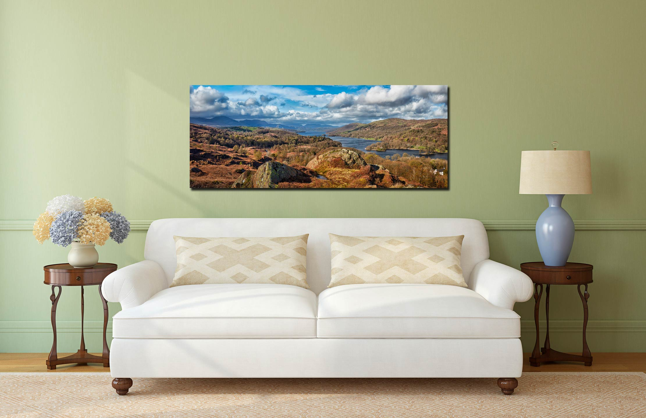 View looking north down Coniston Water towards Langdale - Print Aluminium Backing With Acrylic Glazing on Wall