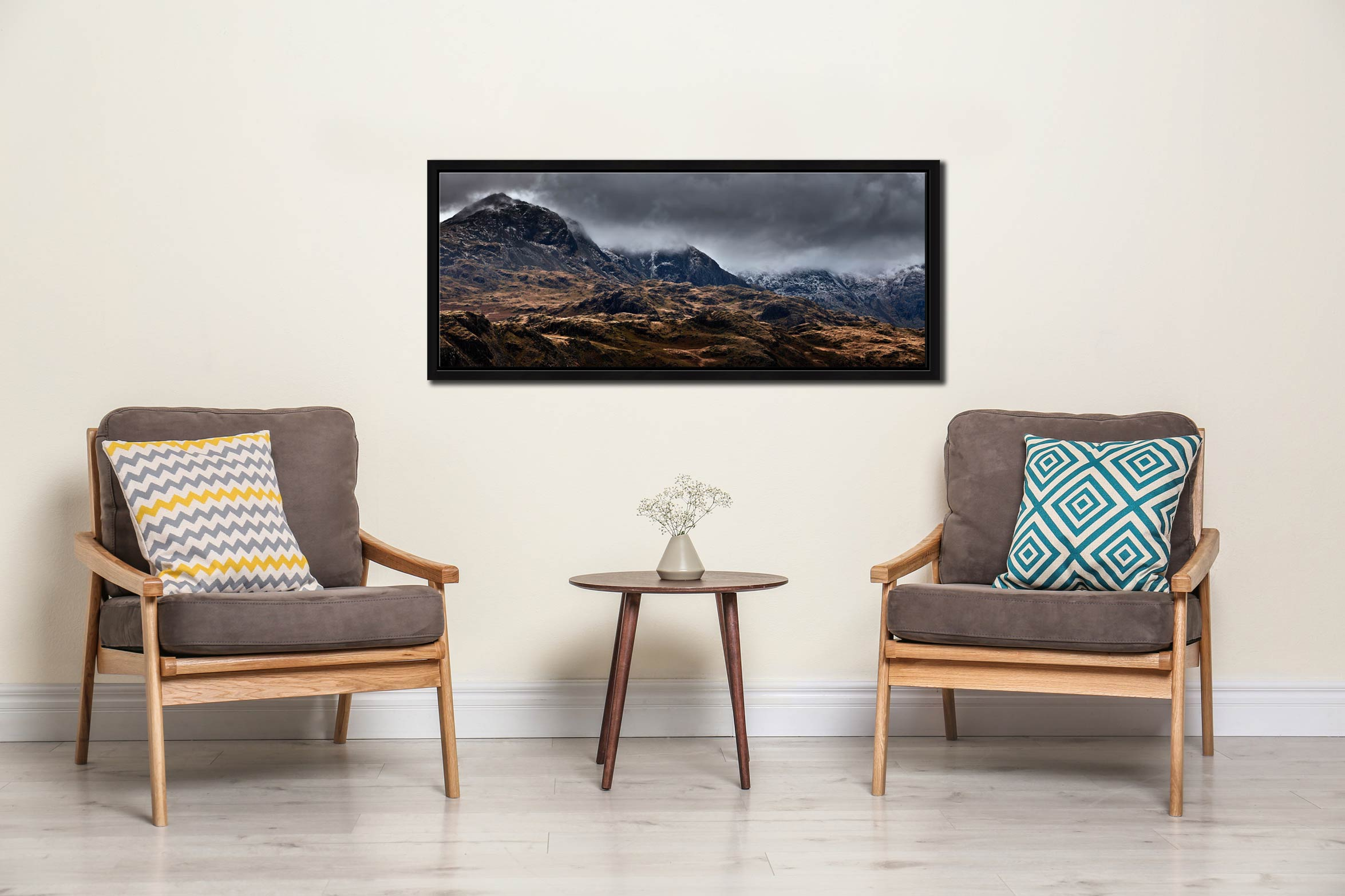 View from the fells above Hardknott Fort looking toward the Sca Fell mountain range on a bleak winter's morning in Eskdale, Cumbria - Black oak floater frame with acrylic glazing on Wall