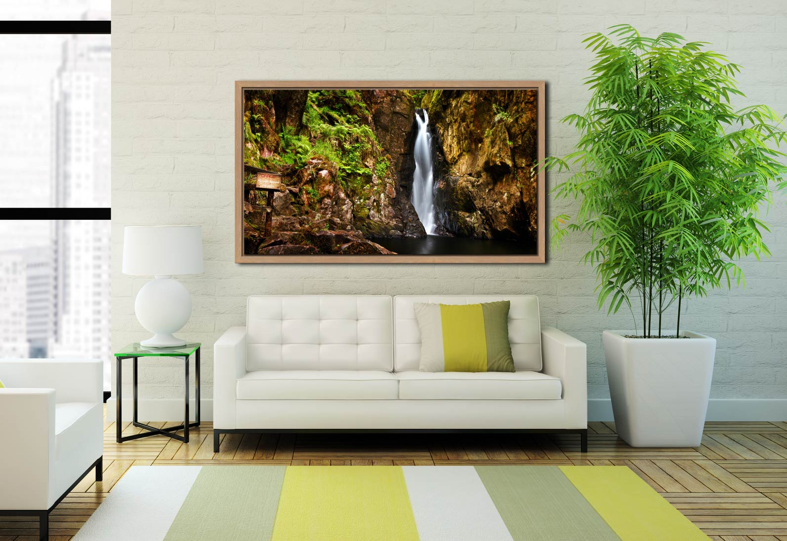 Stanley Ghyll Force Gorge - Oak floater frame with acrylic glazing on Wall