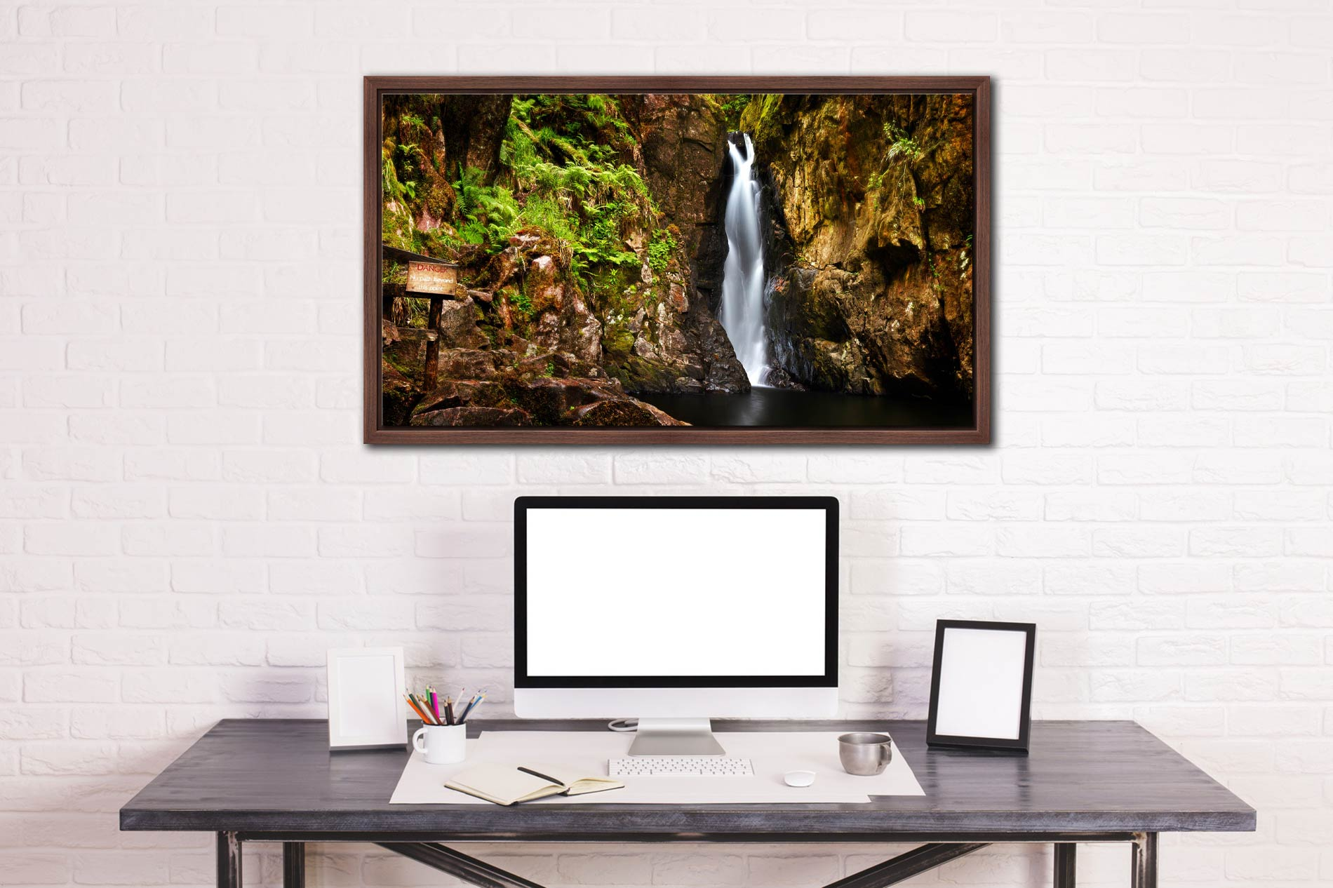 Stanley Ghyll Force Gorge - Walnut floater frame with acrylic glazing on Wall
