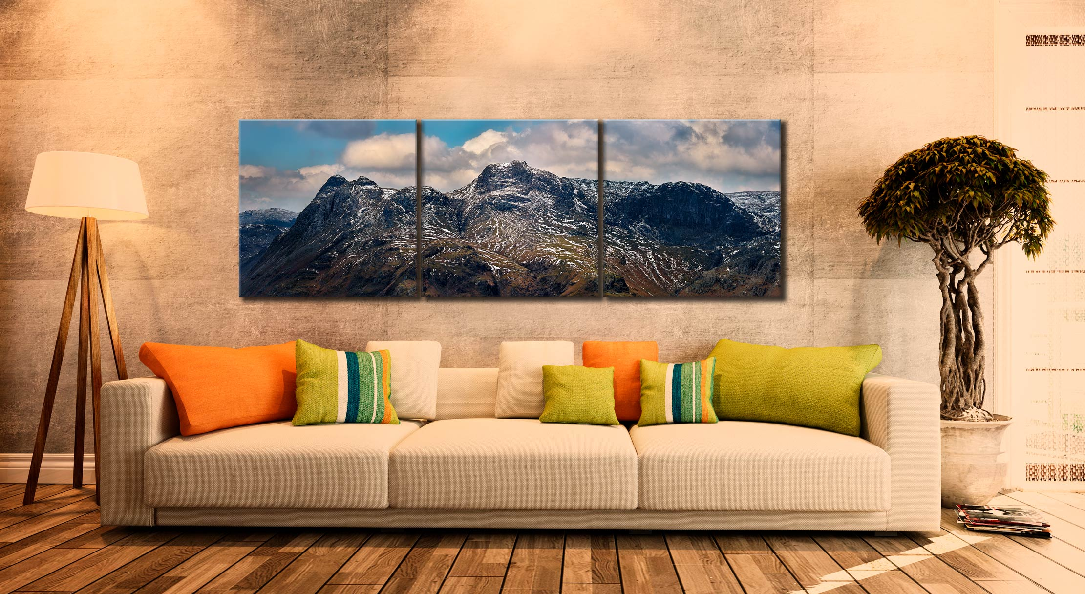 The Langdales and Pavey Ark - 3 Panel Canvas on Wall