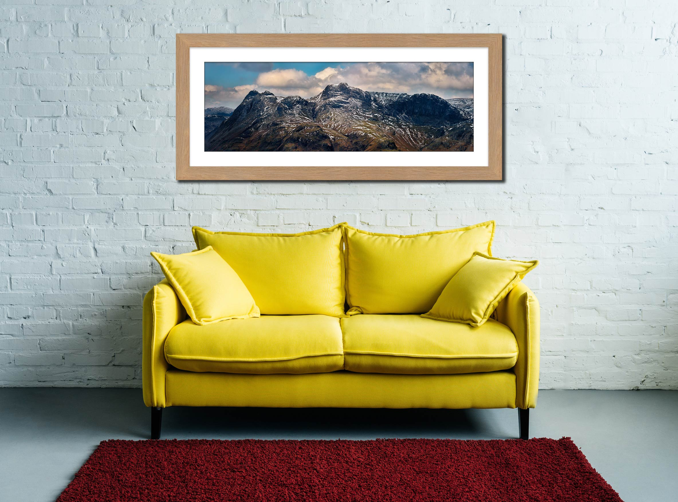 The Langdales and Pavey Ark - Framed Print with Mount on Wall