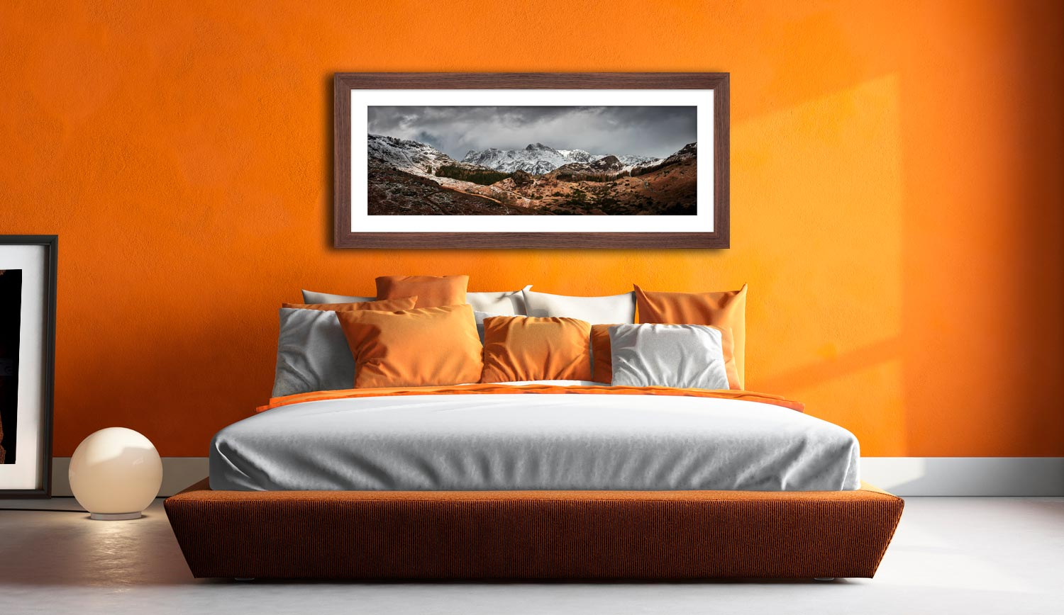 The Langdales from Castle Howe - Framed Print with Mount on Wall