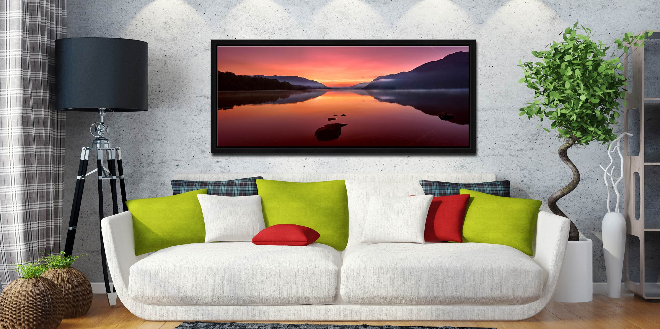 The mists and golden light of sunrise over a becalmed Ullswater at dawn - Black oak floater frame with acrylic glazing on Wall