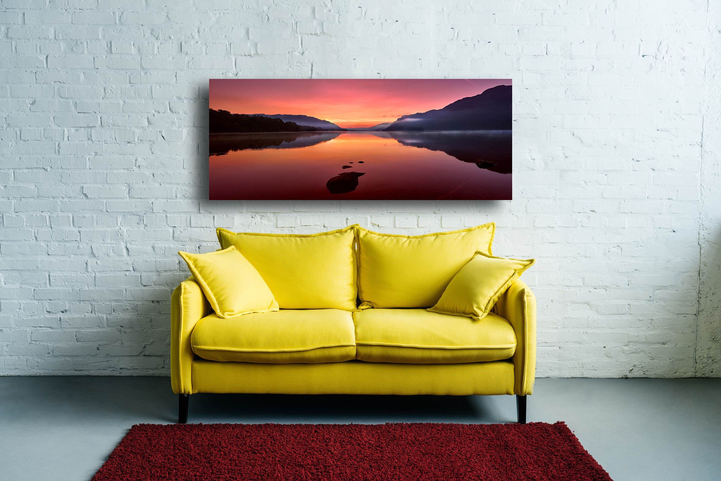 The mists and golden light of sunrise over a becalmed Ullswater at dawn - Print Aluminium Backing With Acrylic Glazing on Wall