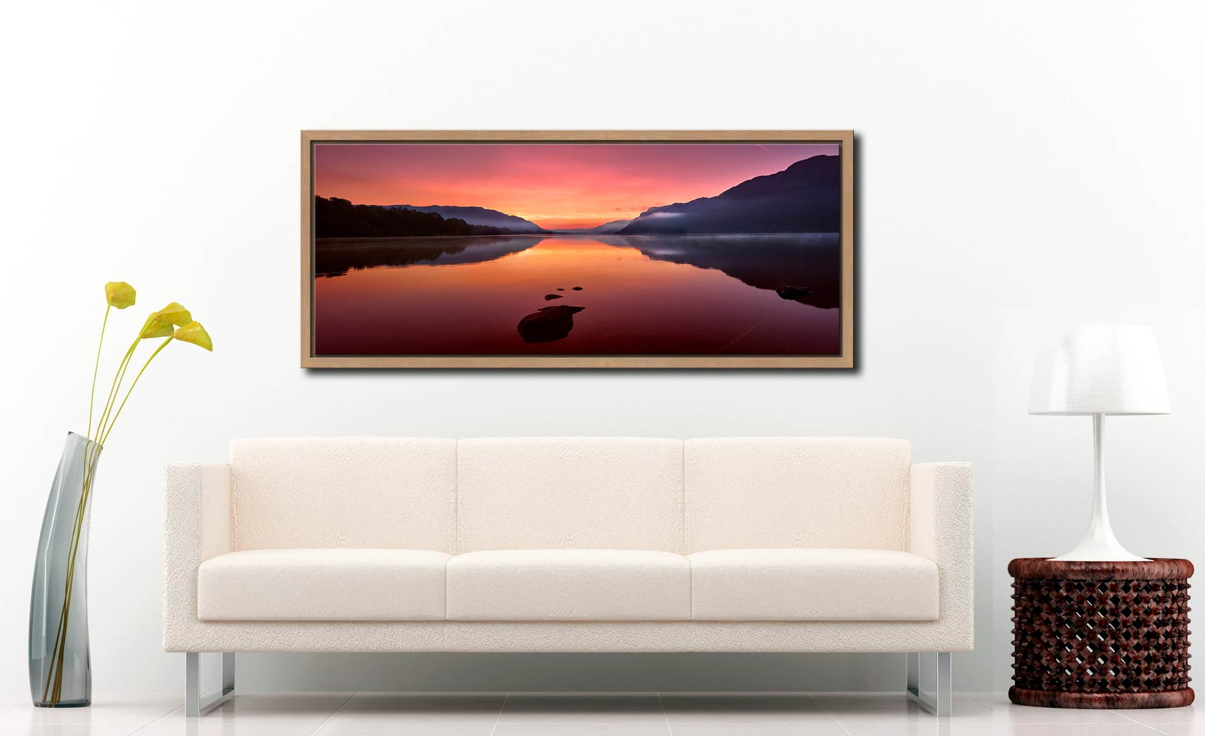 The mists and golden light of sunrise over a becalmed Ullswater at dawn - Oak floater frame with acrylic glazing on Wall