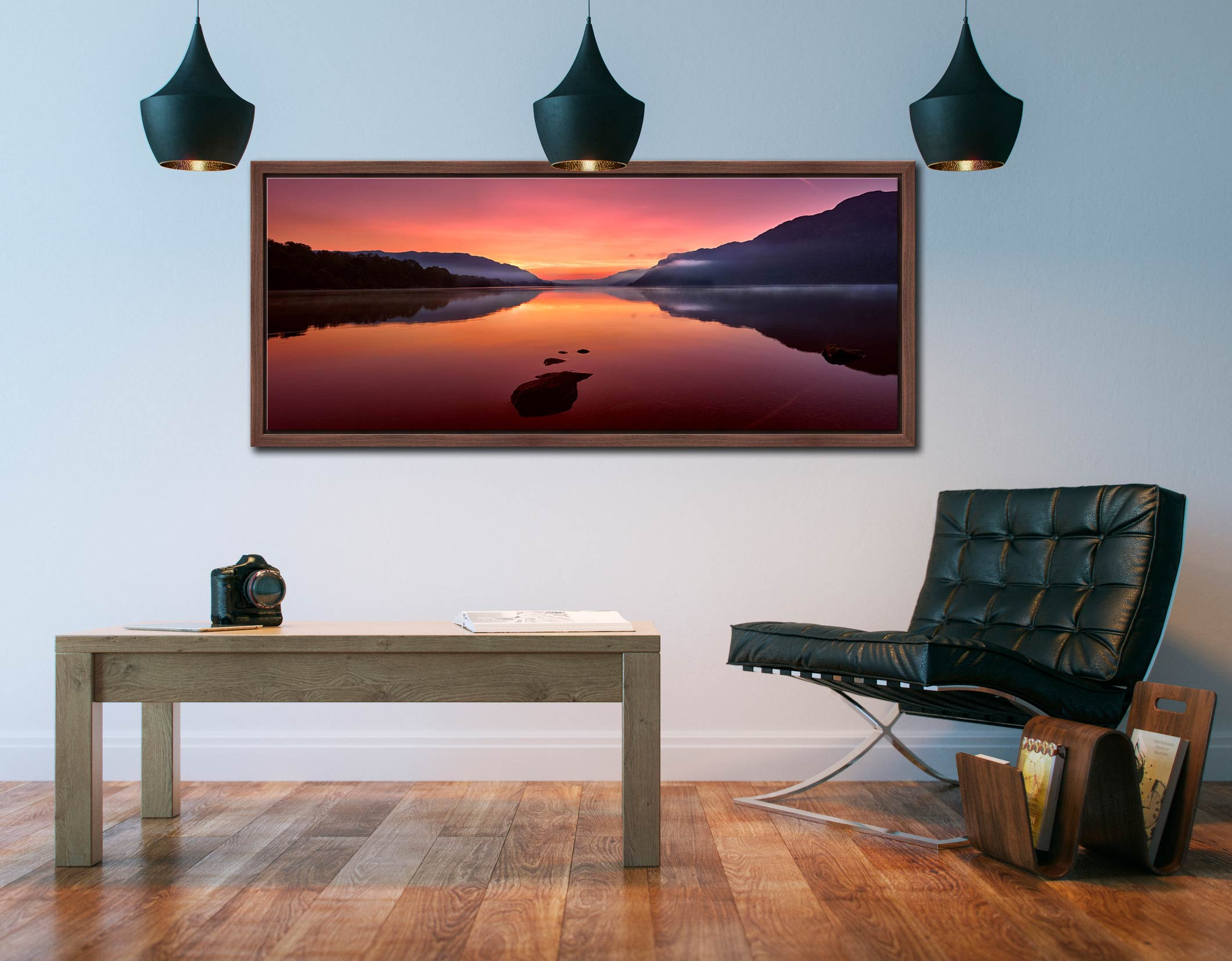 The mists and golden light of sunrise over a becalmed Ullswater at dawn - Walnut floater frame with acrylic glazing on Wall