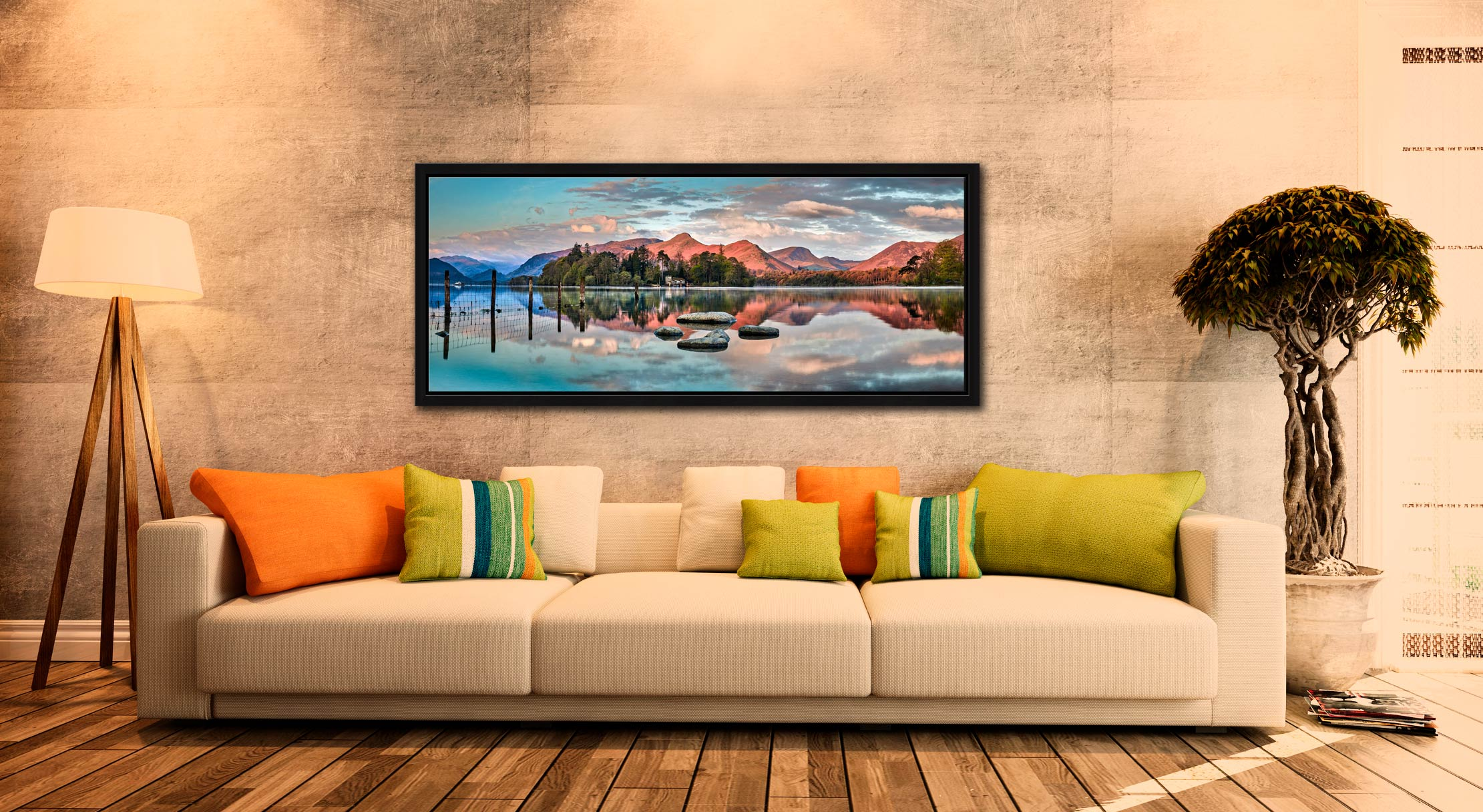 The early morning spring sunlight gives a red hue to the mountains around Derwent Water - Black oak floater frame with acrylic glazing on Wall