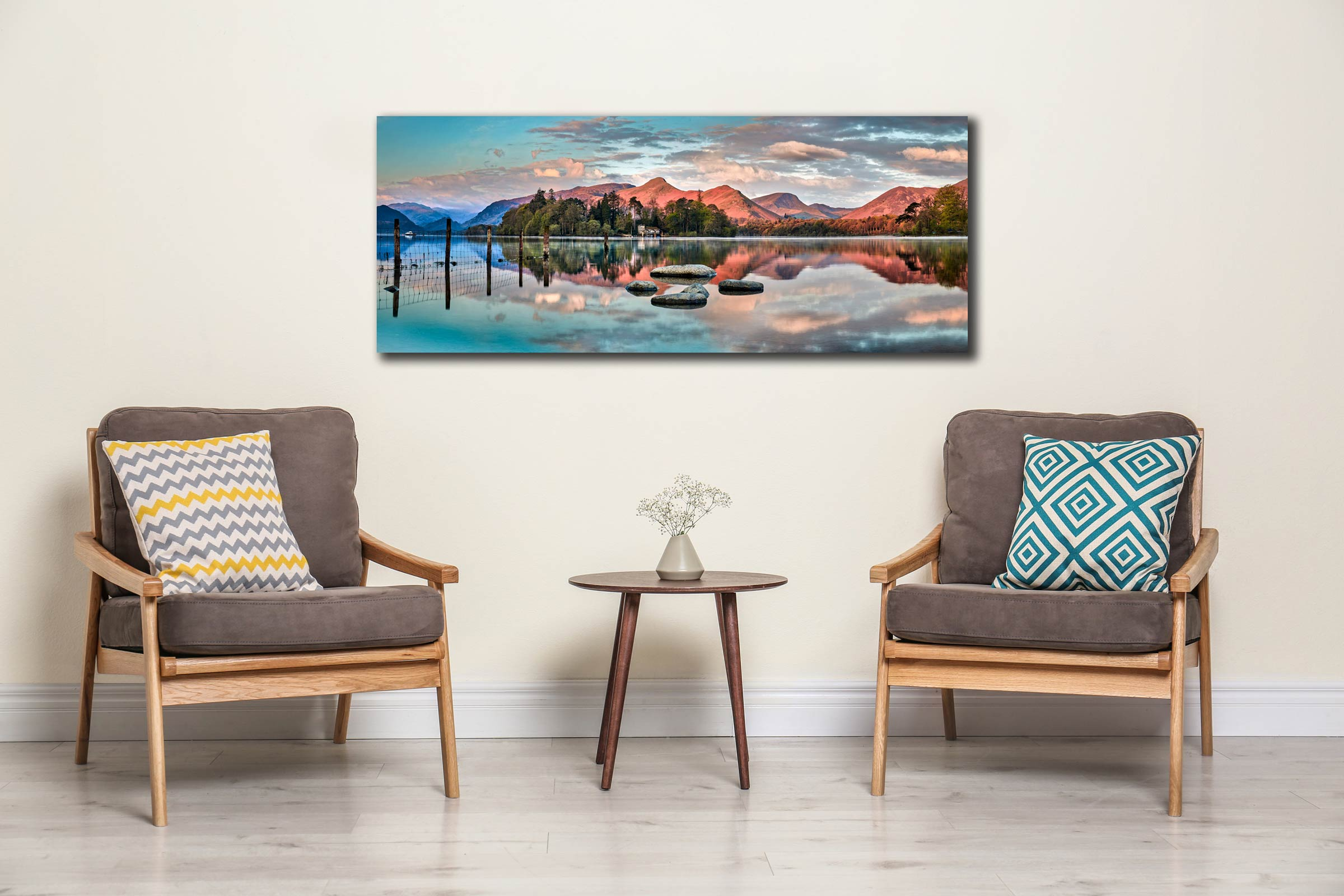 The early morning spring sunlight gives a red hue to the mountains around Derwent Water - Print Aluminium Backing With Acrylic Glazing on Wall