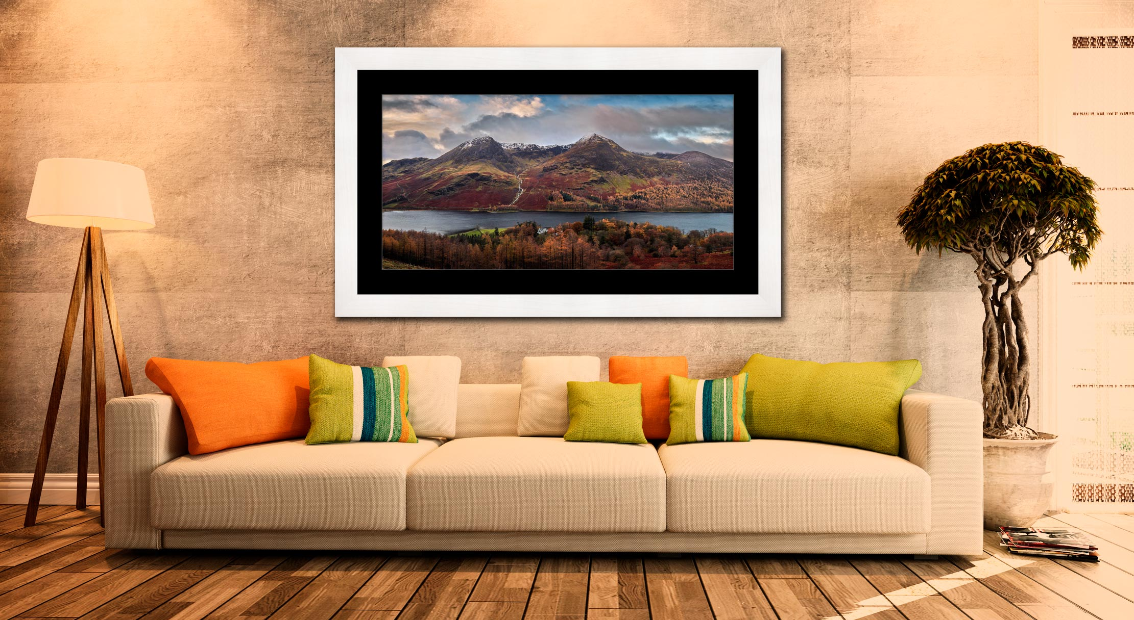 High Stile High Crag in Autumn - Framed Print with Mount on Wall