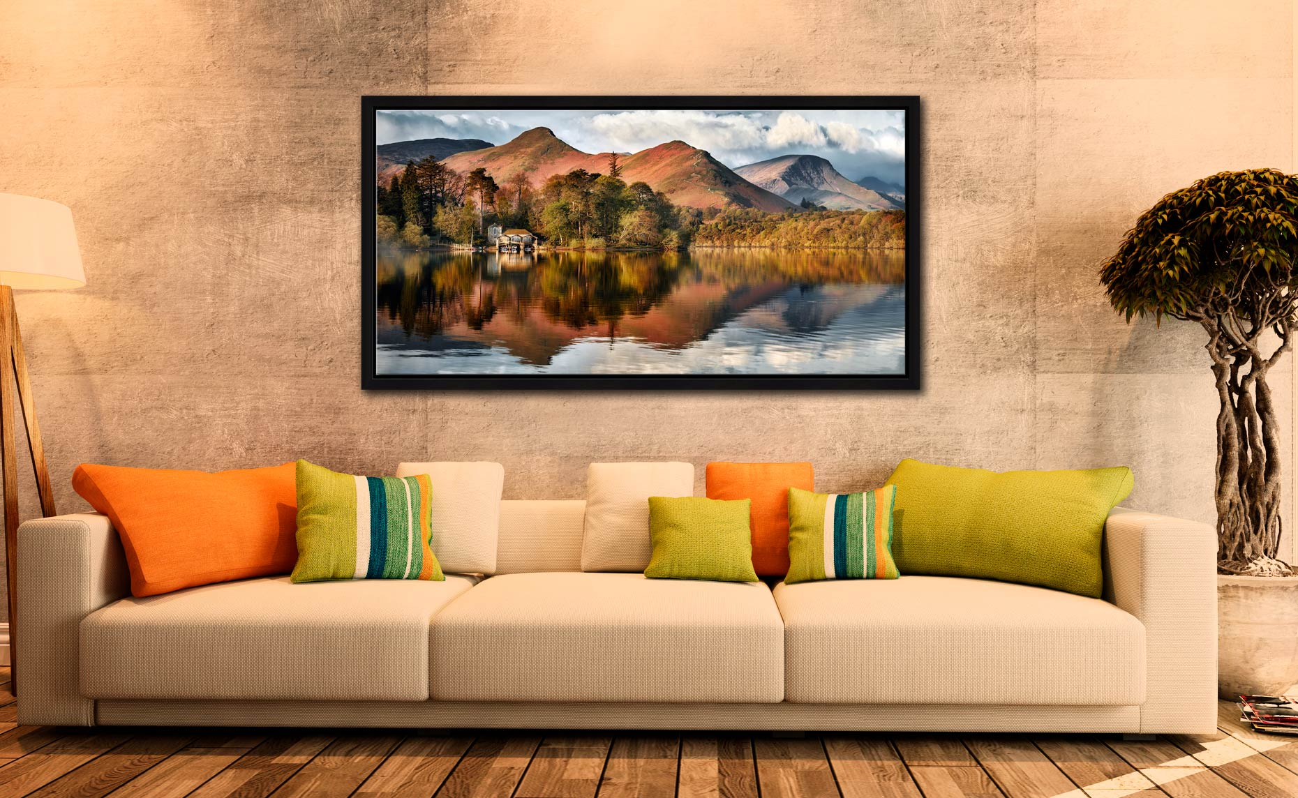 Derwent Boathouse and Cat Bells - Black oak floater frame with acrylic glazing on Wall