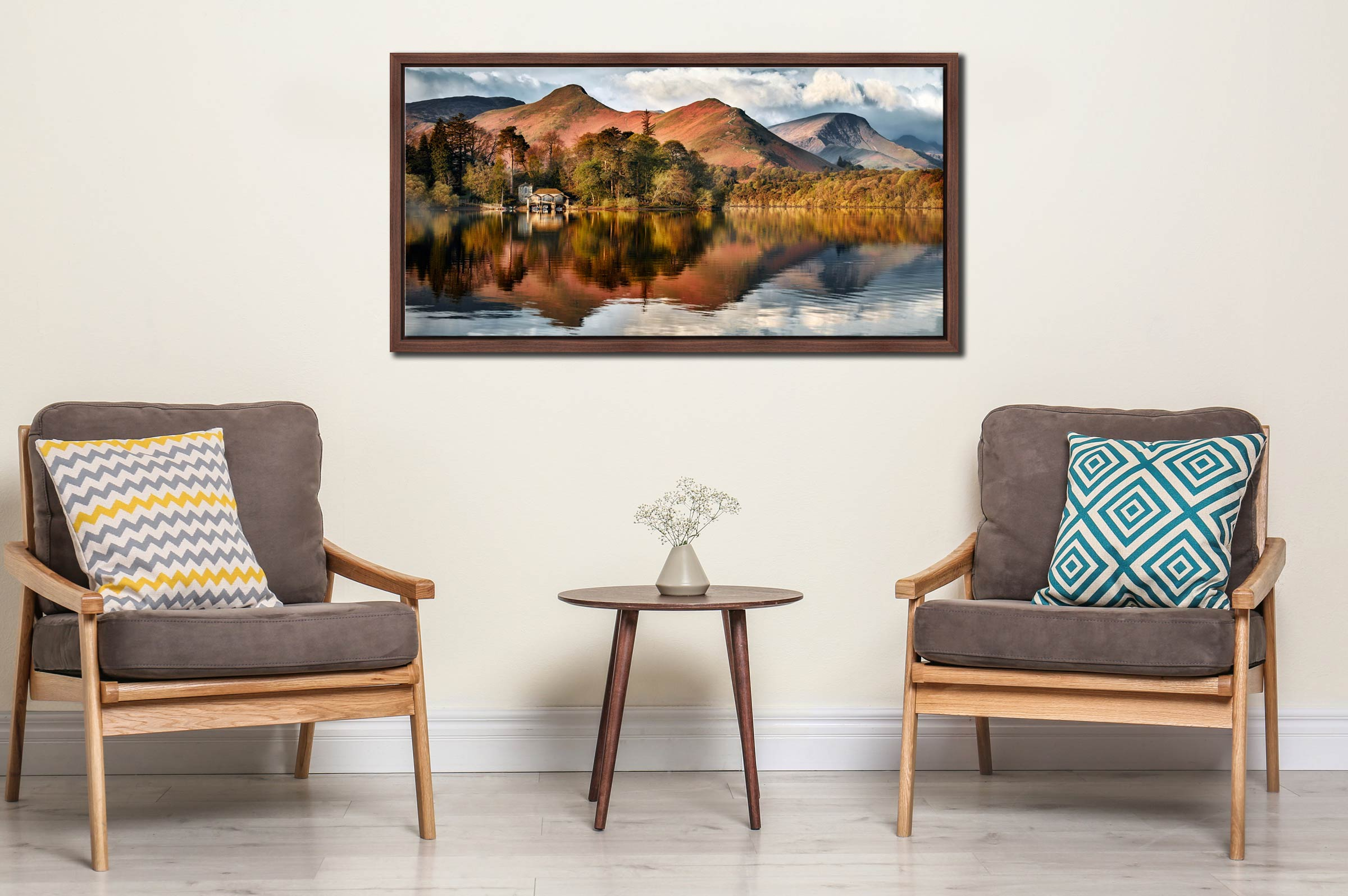 Derwent Boathouse and Cat Bells - Walnut floater frame with acrylic glazing on Wall