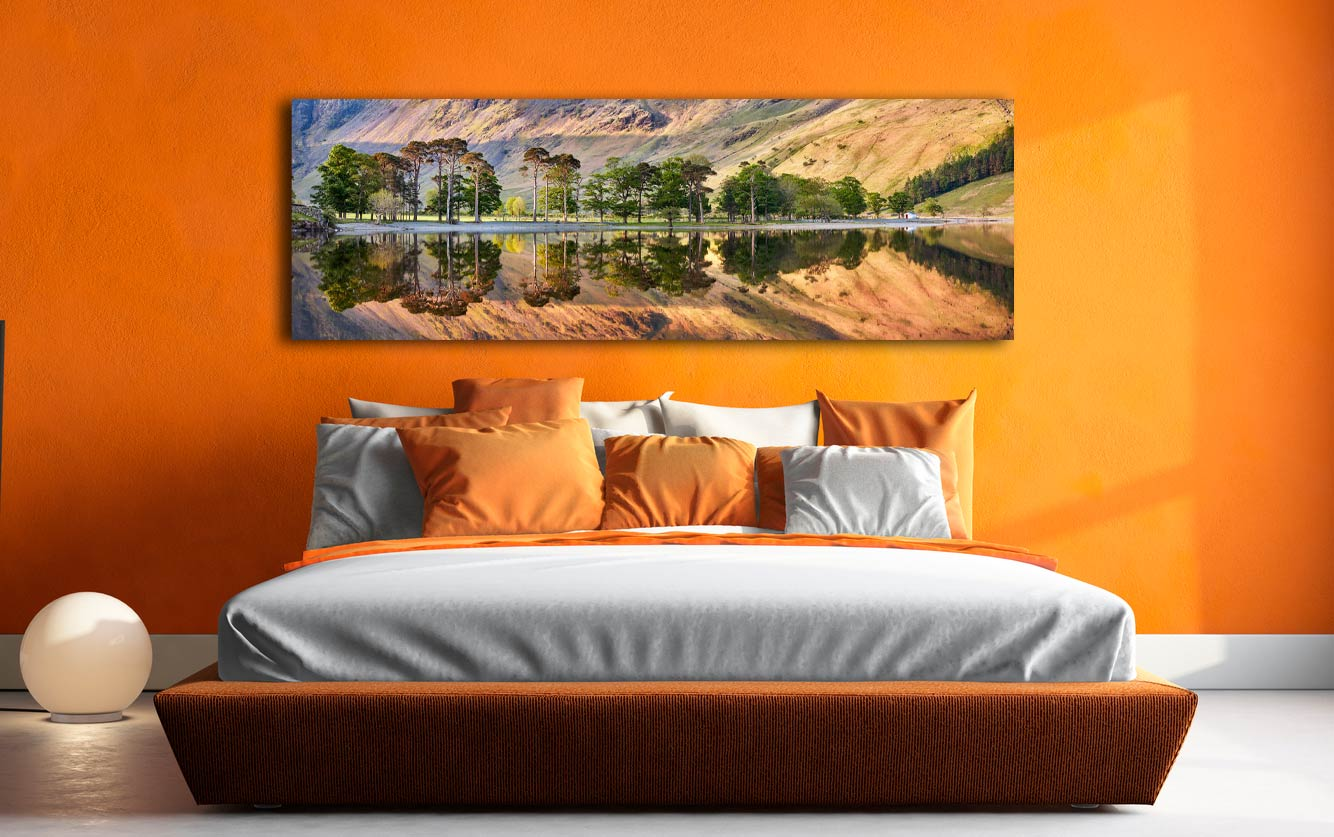 A nice serene, golden morning at Buttermere - Print Aluminium Backing With Acrylic Glazing on Wall