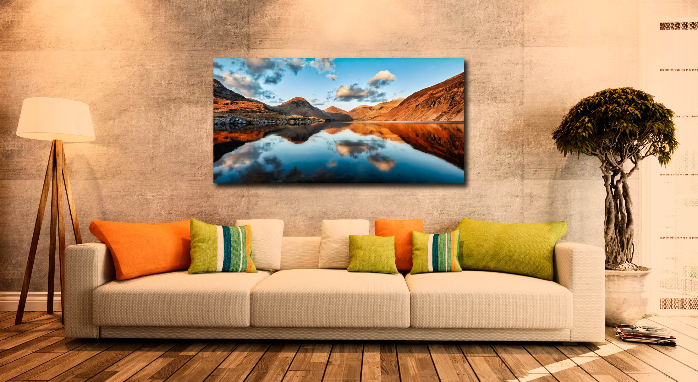 Golden Light Over Wast Water - Print Aluminium Backing With Acrylic Glazing on Wall
