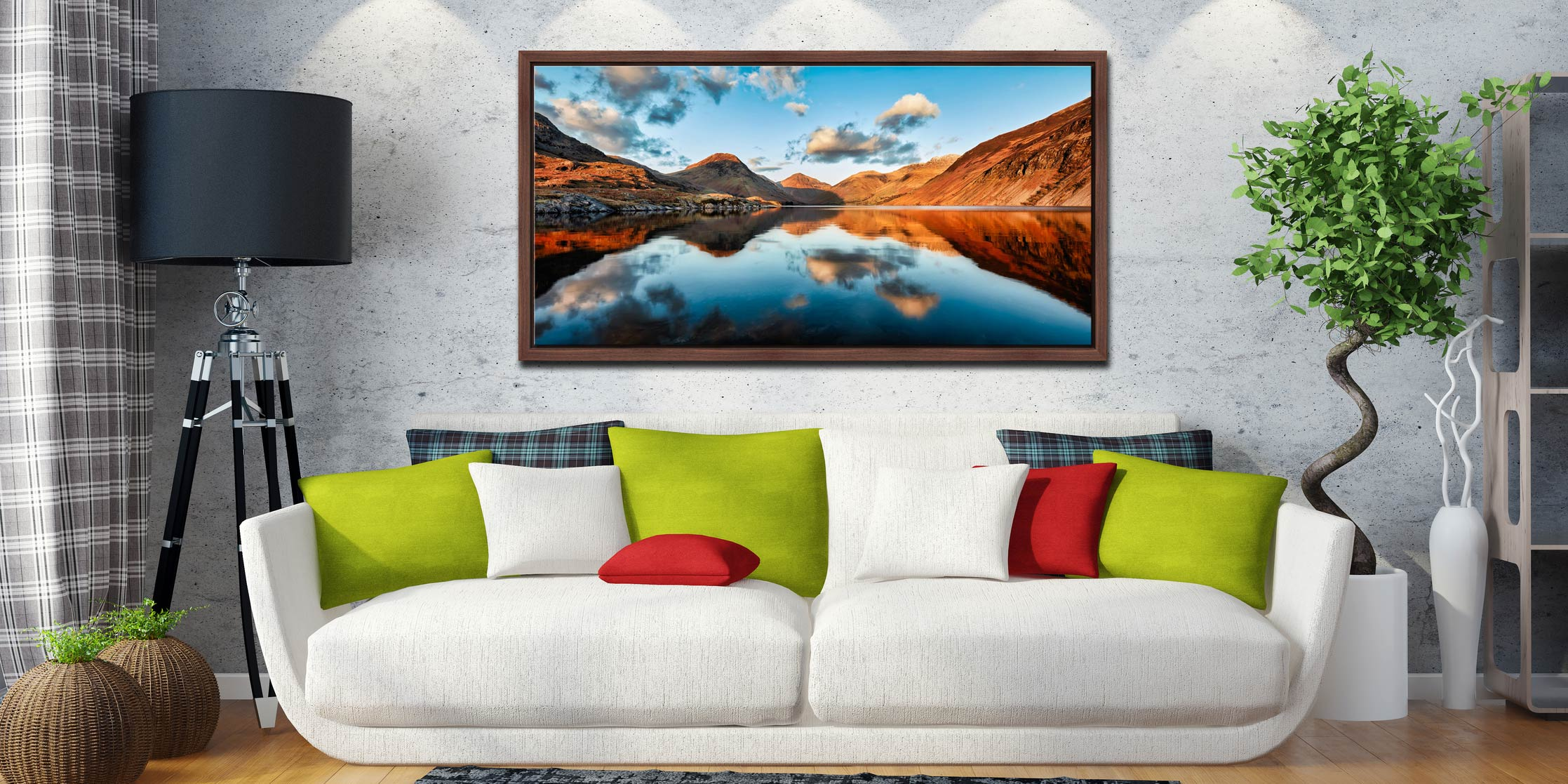 Golden Light Over Wast Water - Walnut floater frame with acrylic glazing on Wall