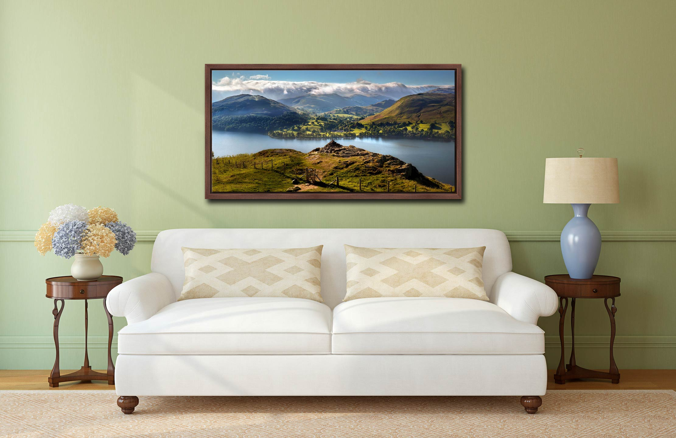 Gowbarrow to Martindale - Walnut floater frame with acrylic glazing on Wall