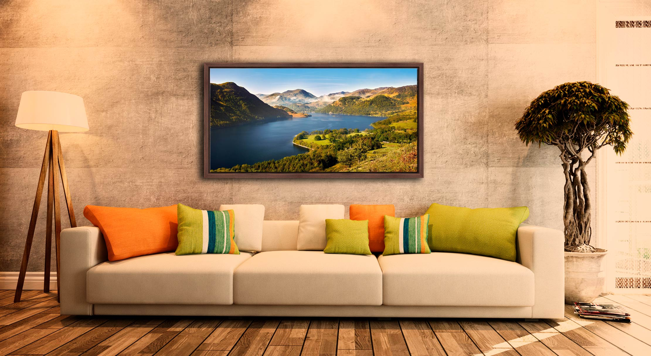 Spring at Ullswater - Walnut floater frame with acrylic glazing on Wall