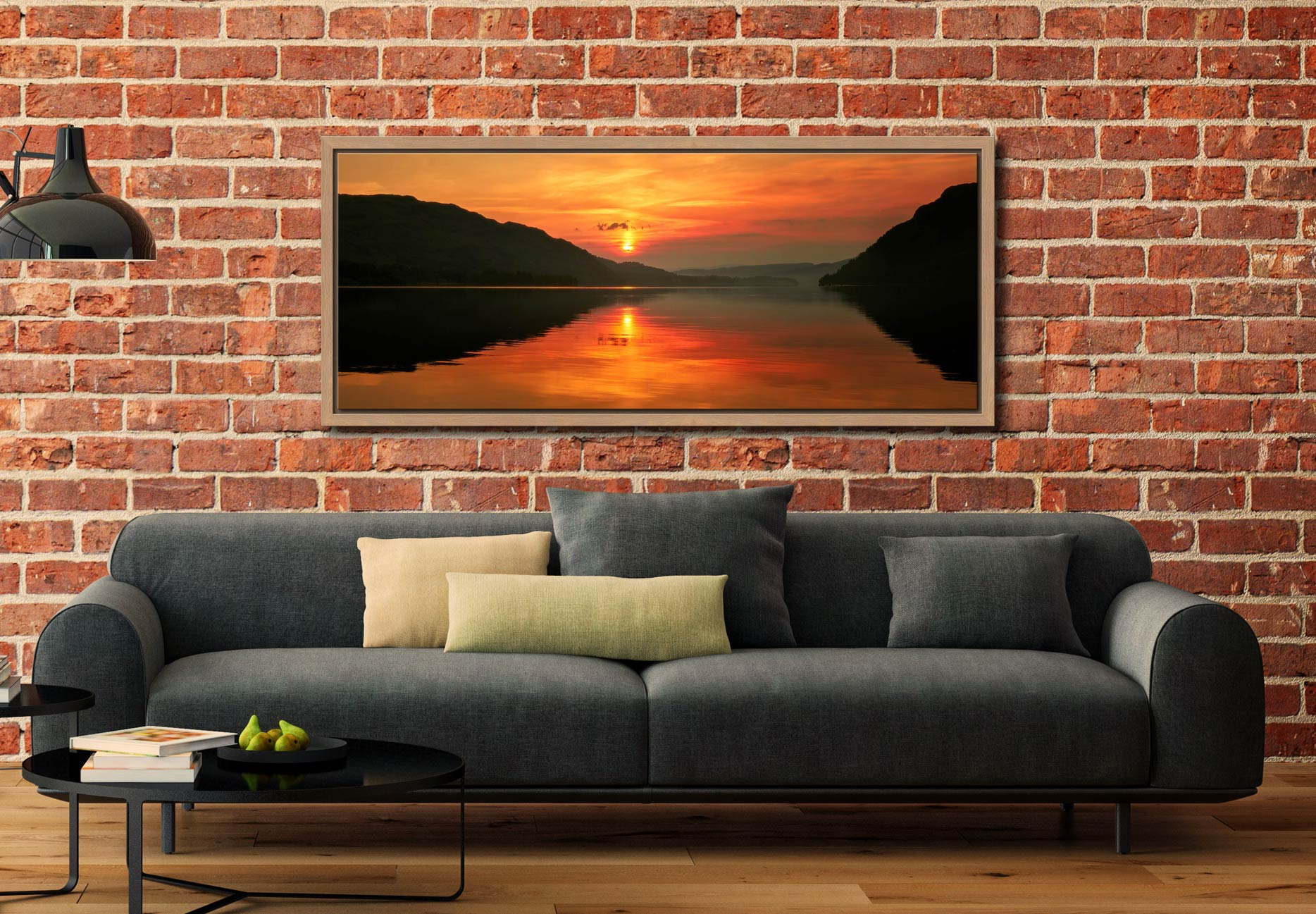 A lovely golden sunrise over Ullswater - Oak floater frame with acrylic glazing on Wall